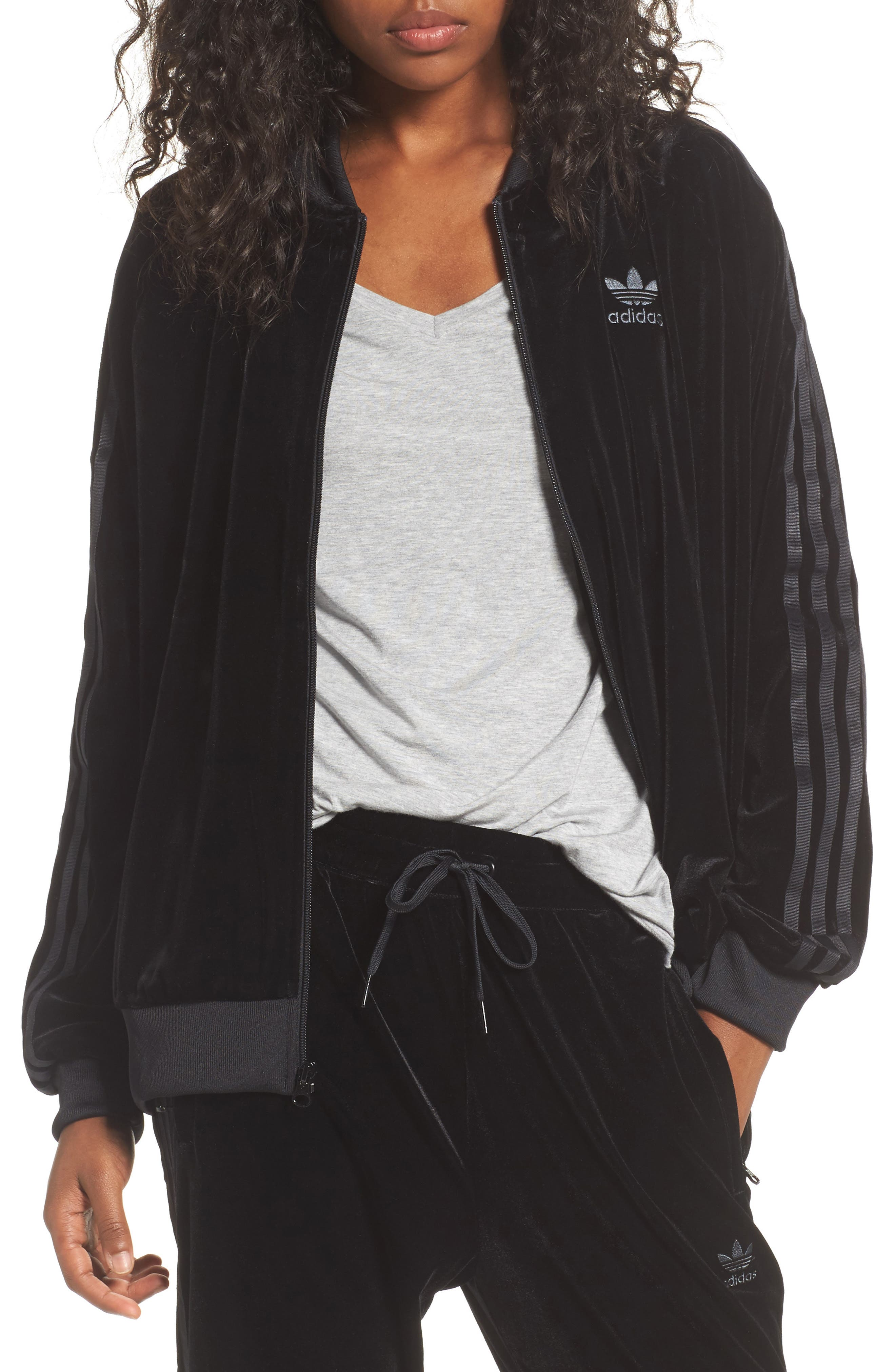 adidas originals Velvet Zip Sweatshirt