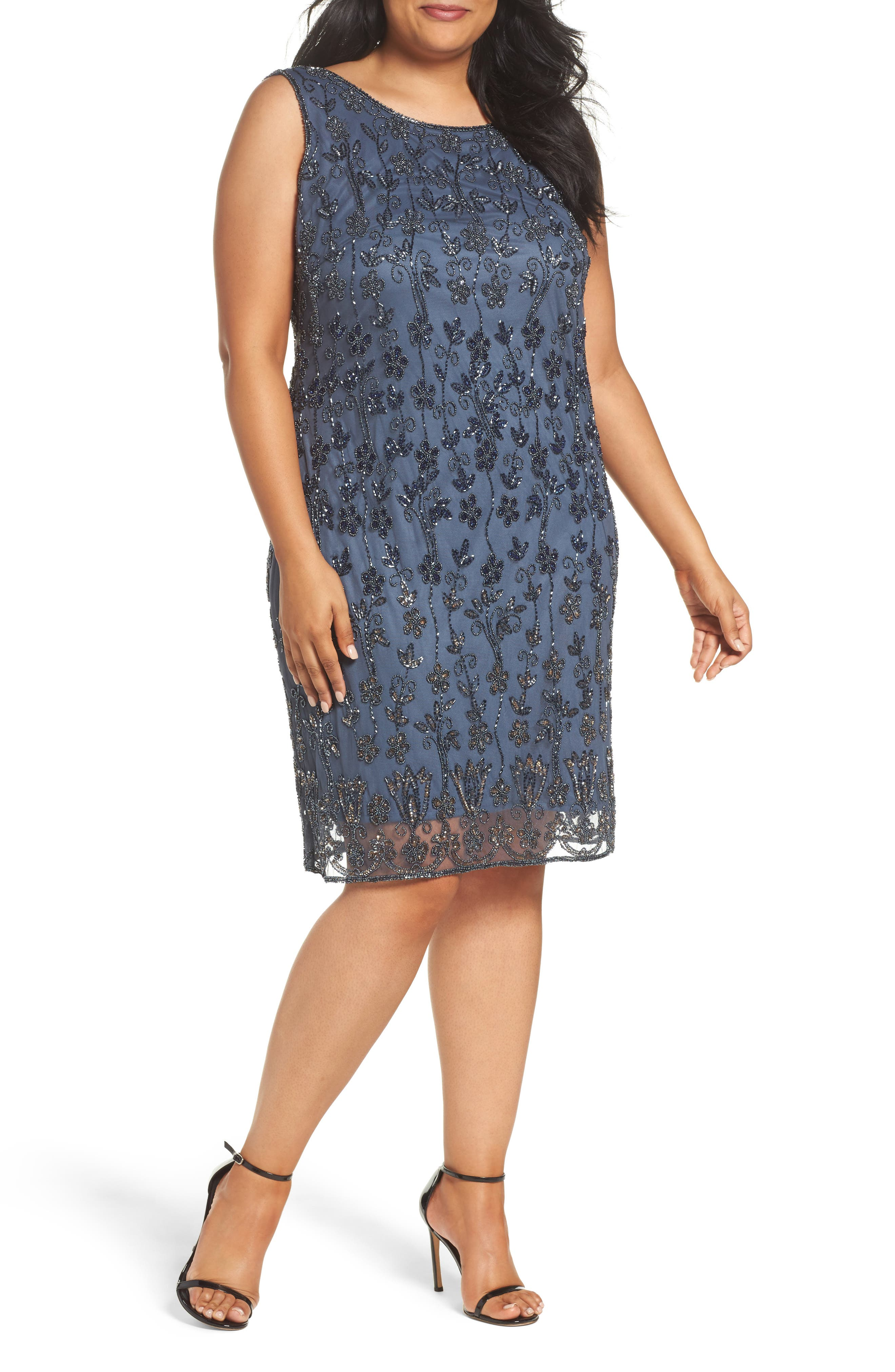 Embellished Mesh Sheath Dress,                             Main thumbnail 1, color,                             New Grey