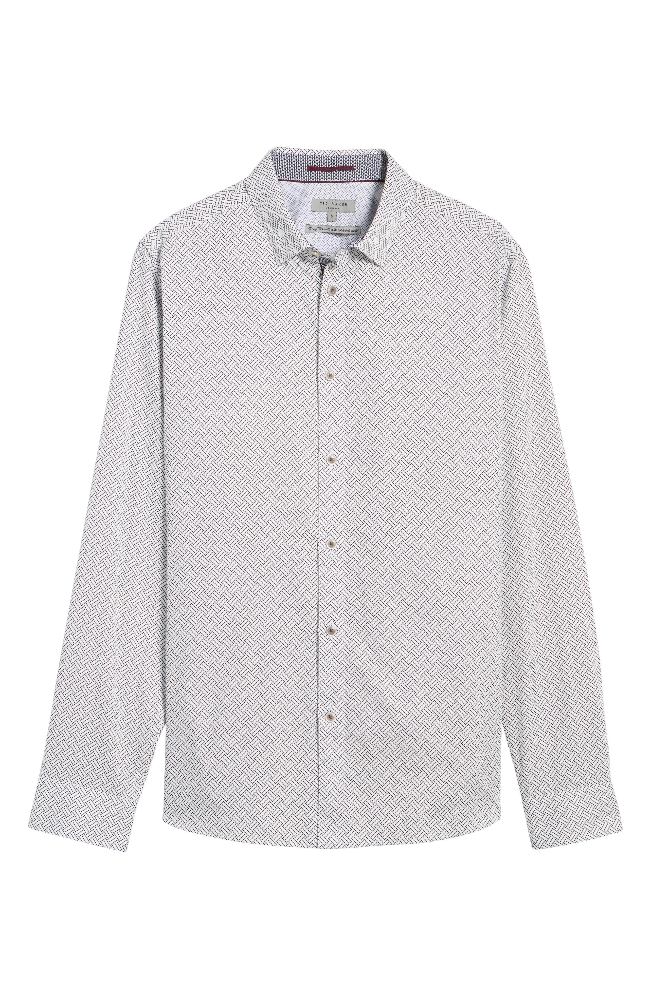 Larosh Slim Fit Basket Weave Print Sport Shirt,                             Alternate thumbnail 6, color,                             White