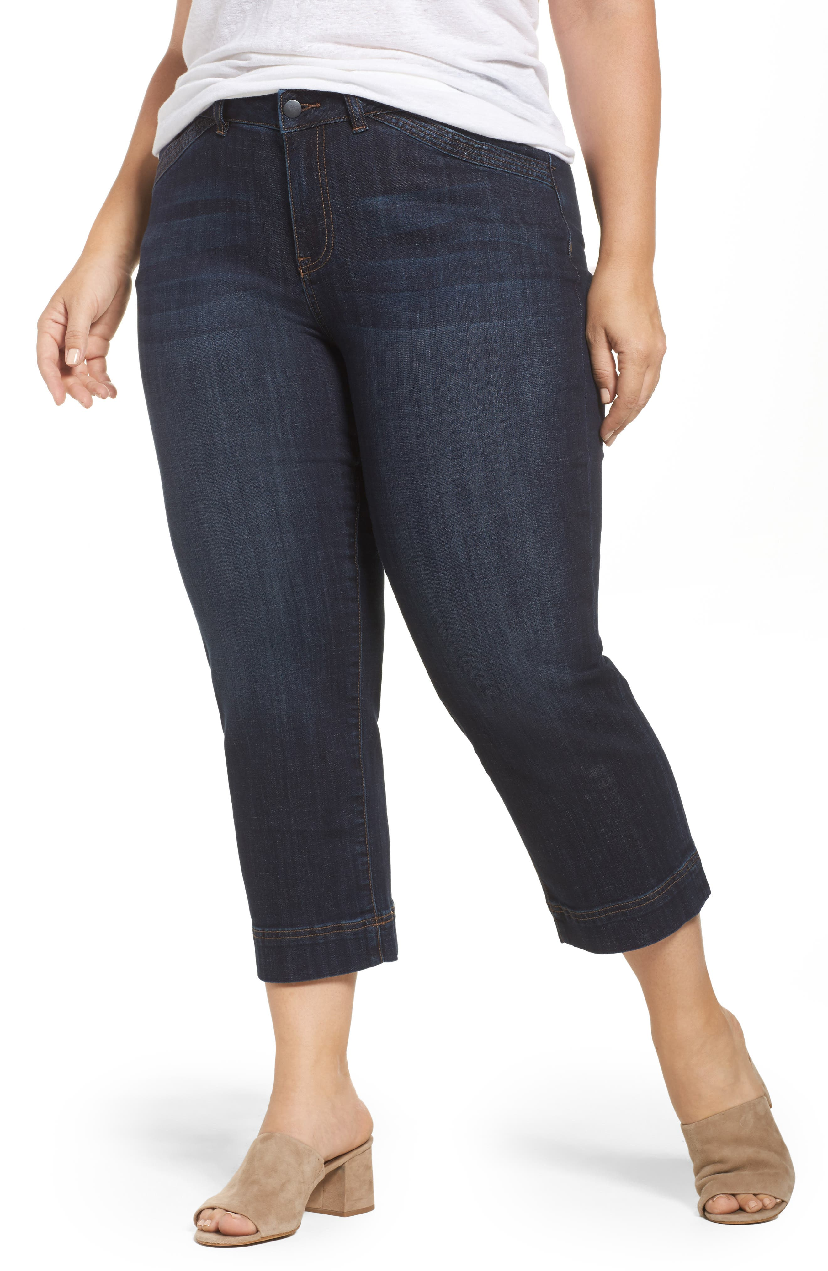 Wide Leg Crop Jeans,                             Main thumbnail 1, color,                             Dark Wash