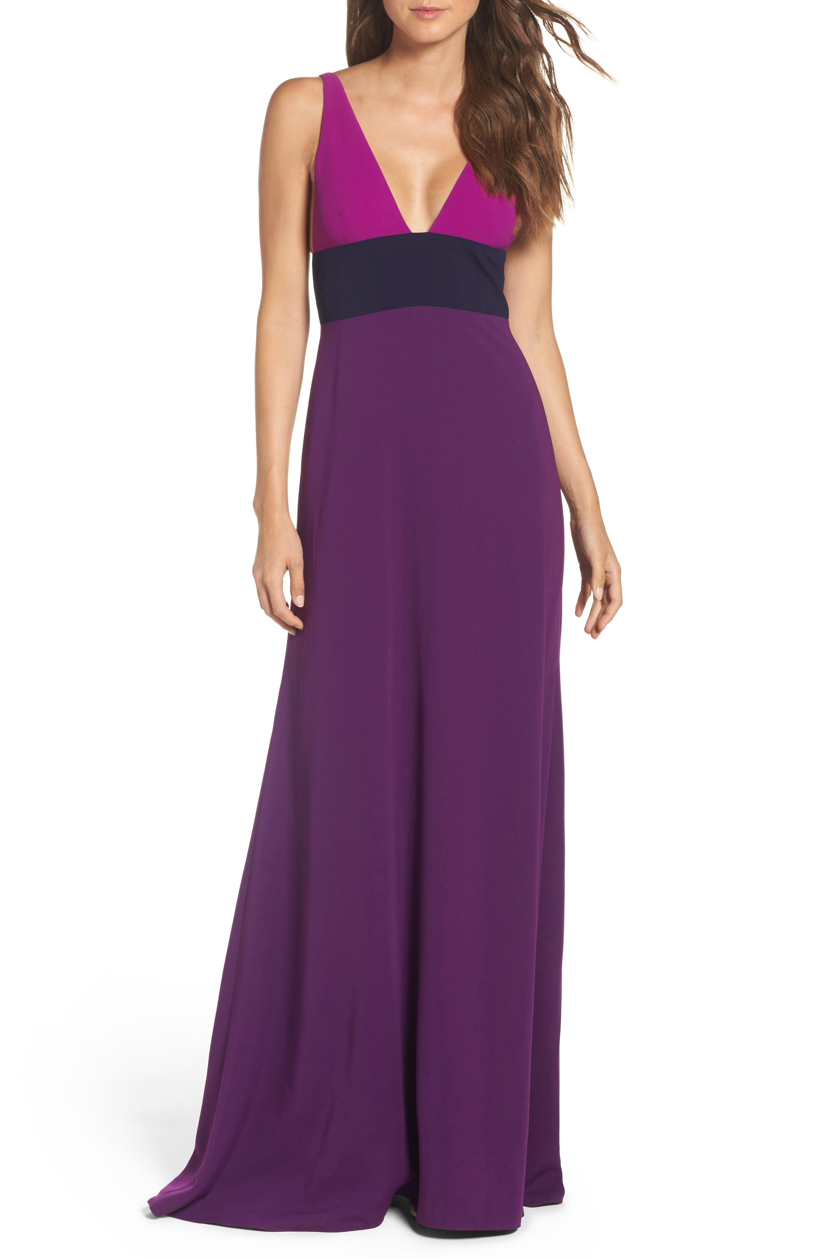 JILL JILL STUART Colorblock V-Neck Gown
