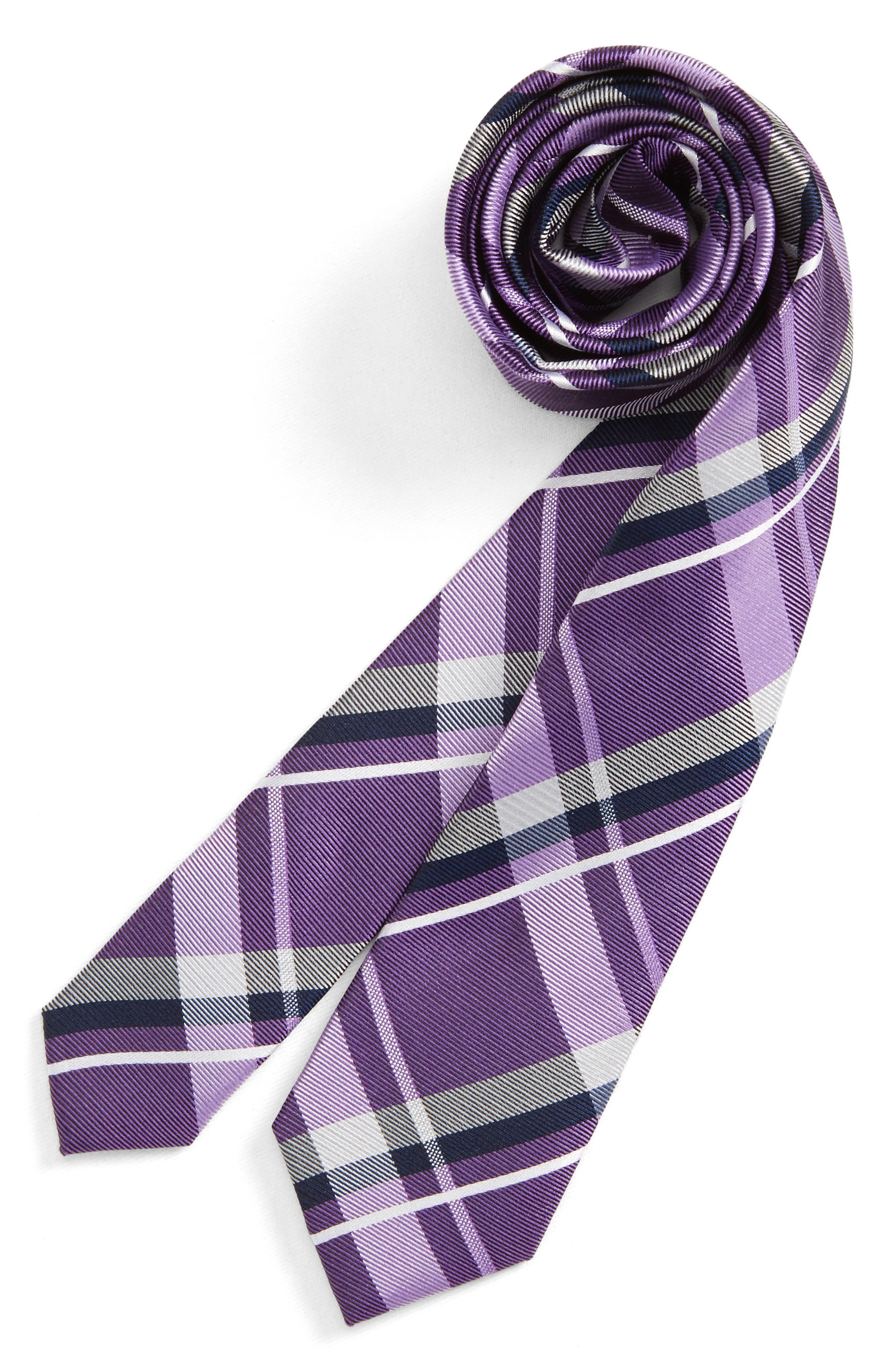 Check Silk Tie,                         Main,                         color, Purple