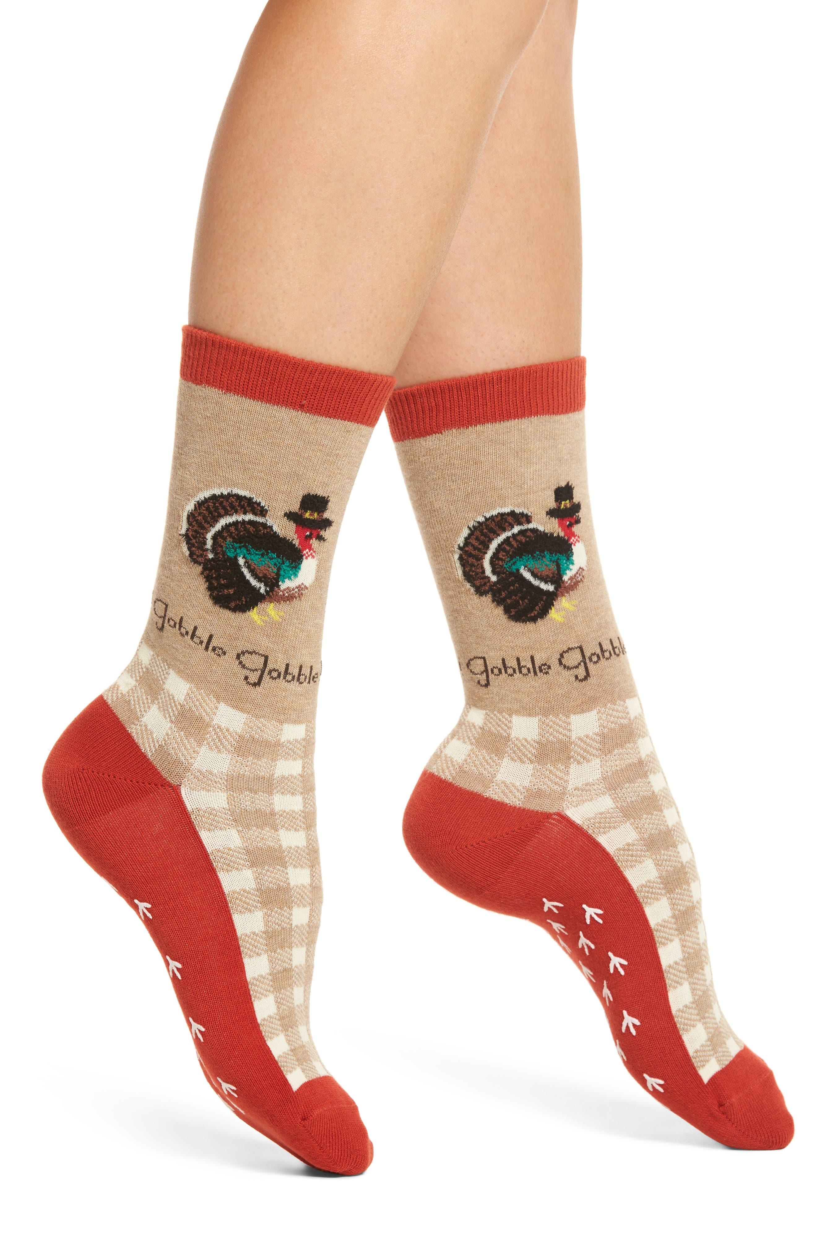Gobble Gobble Turkey Crew Socks,                         Main,                         color, Hemp Heather