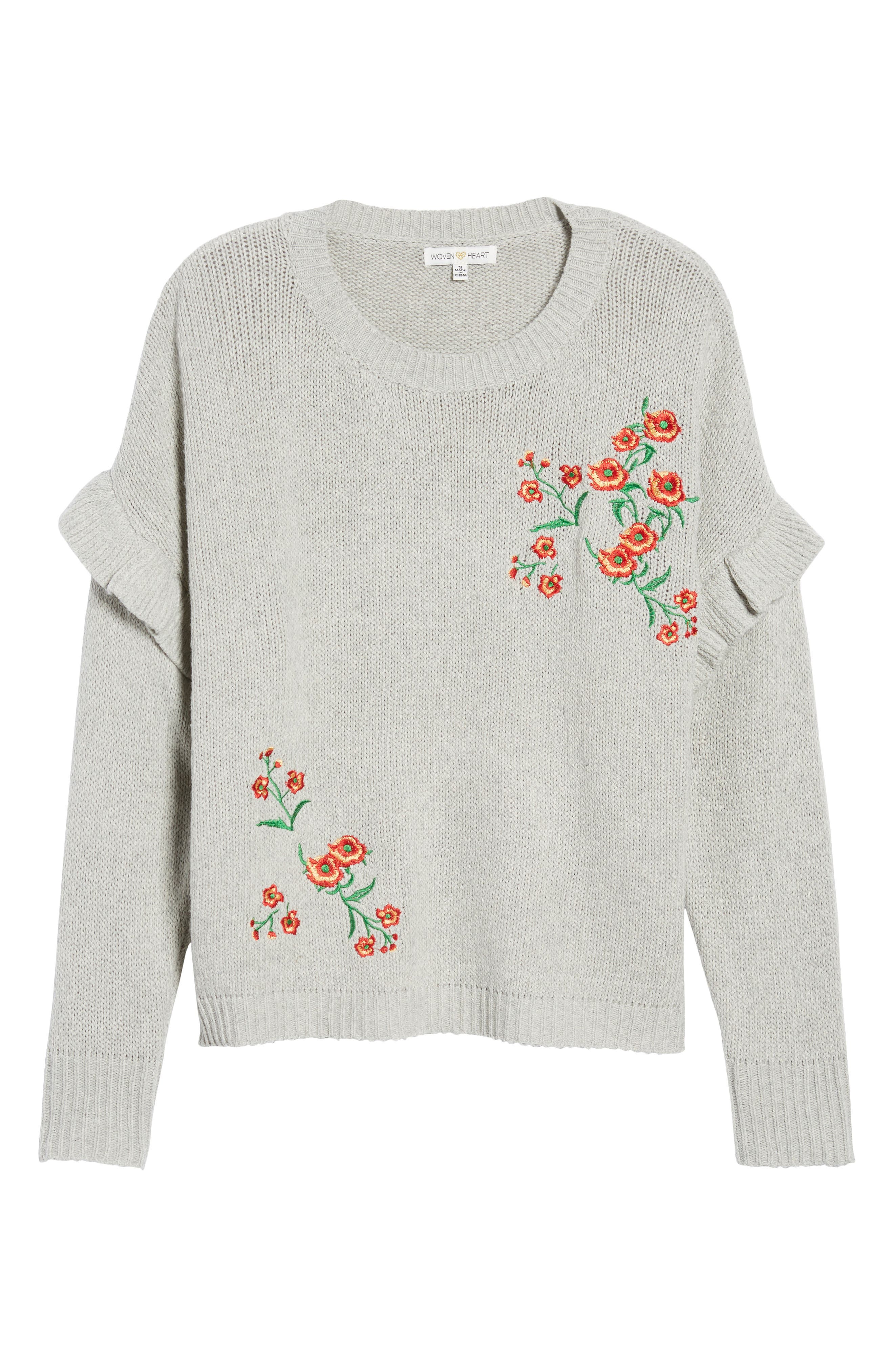 Ruffle Sleeve Embroidered Sweater,                             Alternate thumbnail 6, color,                             Grey