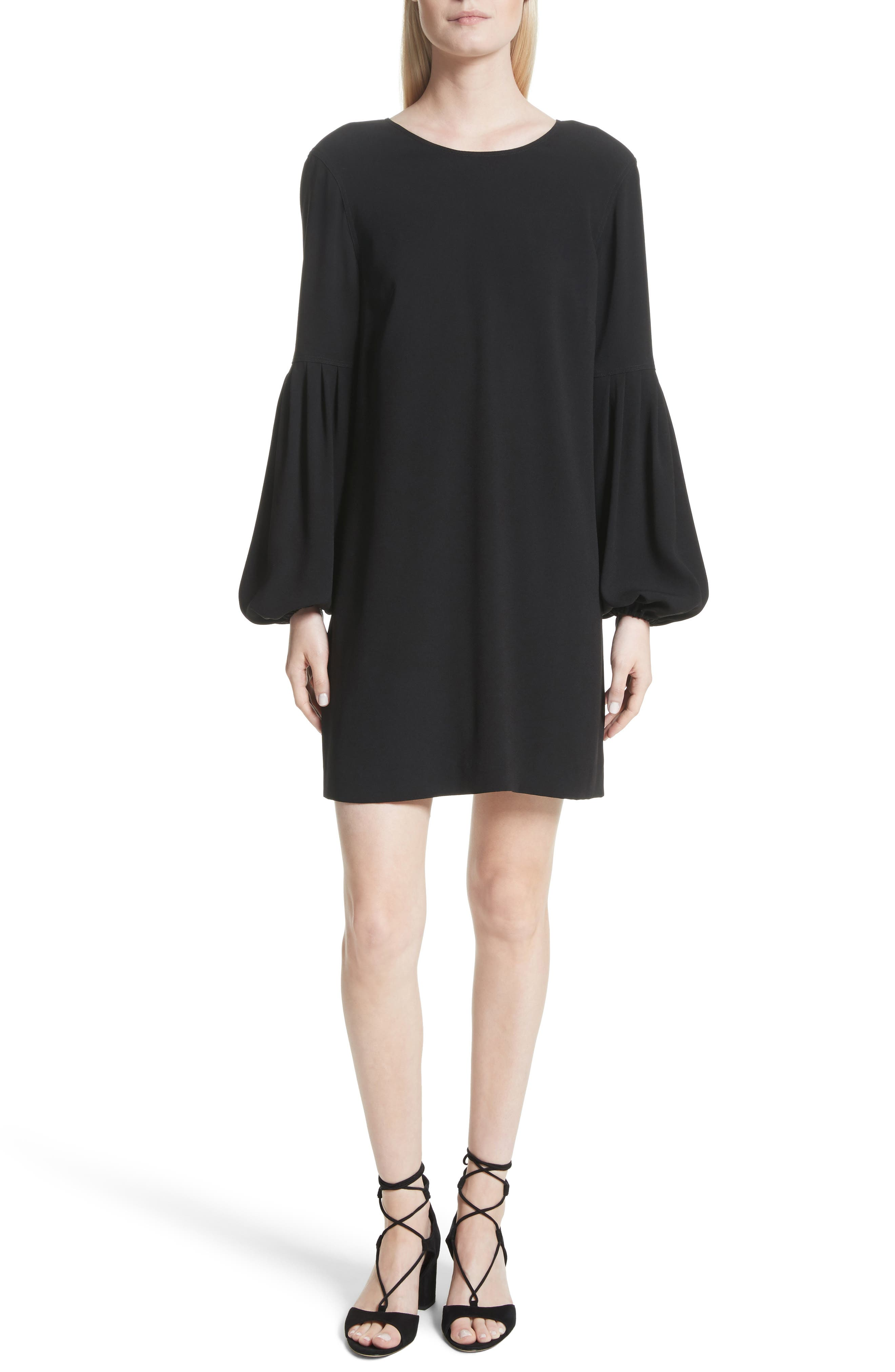 Claudia Puff Sleeve Dress,                             Main thumbnail 1, color,                             Black