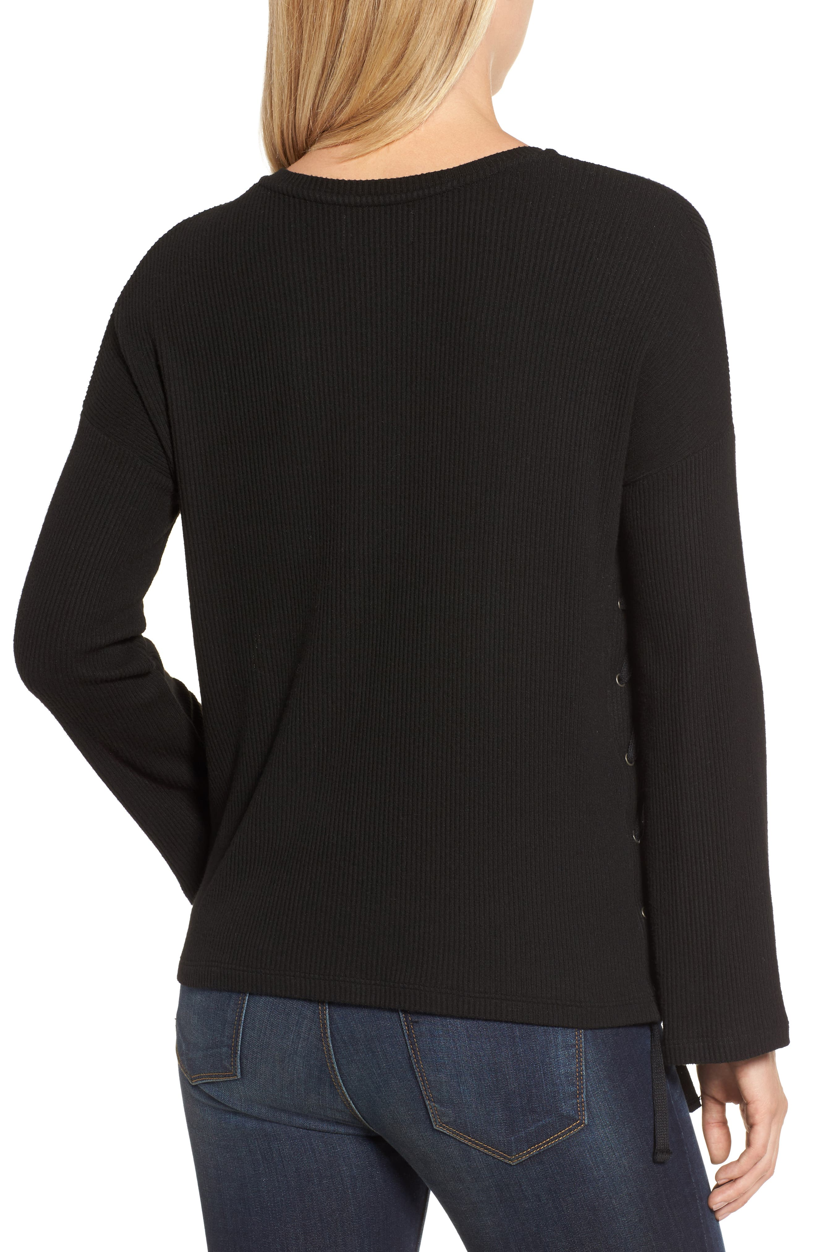 Lace-Up Pullover,                             Alternate thumbnail 2, color,                             Black