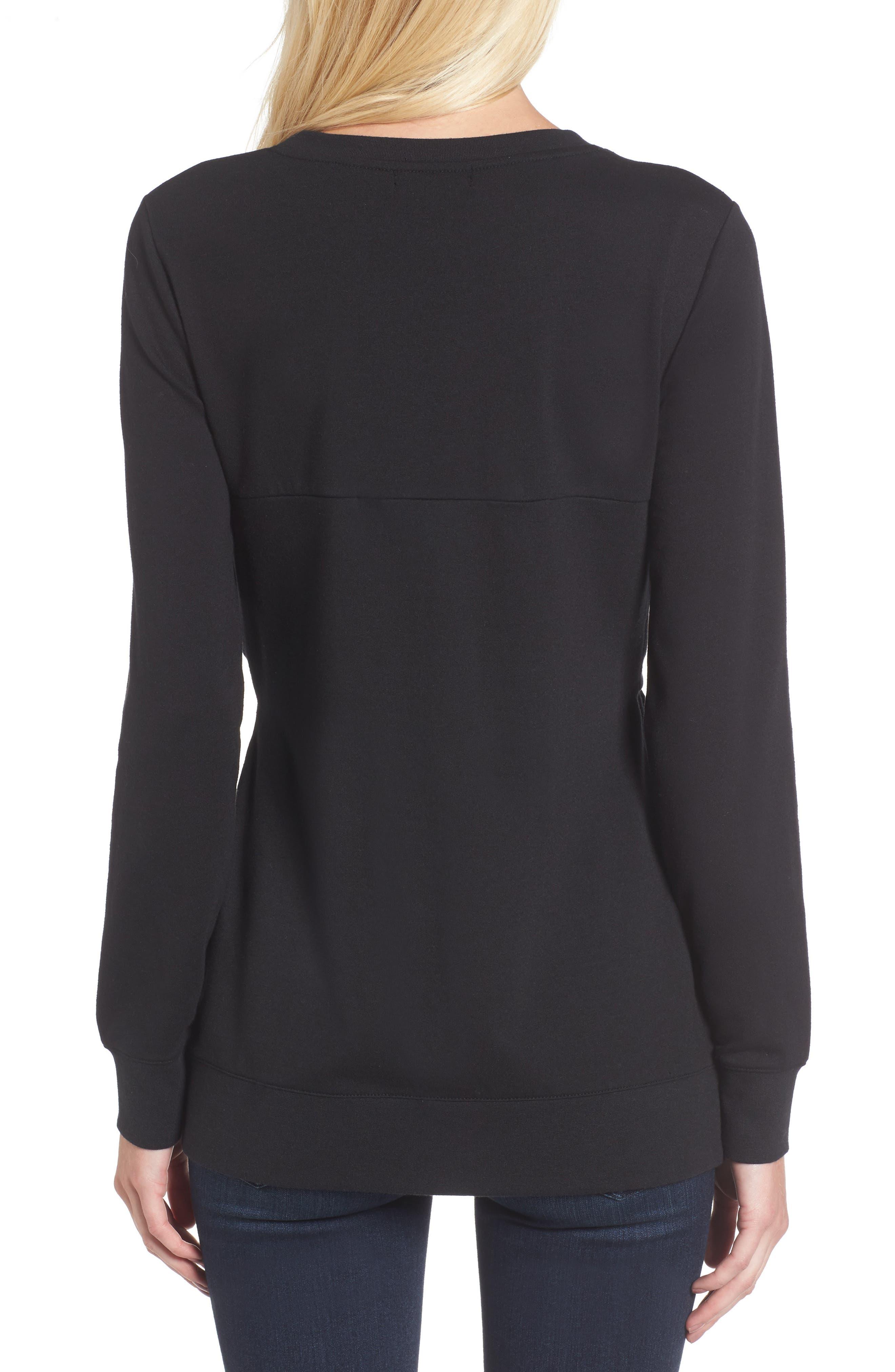 Twist Front Sweatshirt,                             Alternate thumbnail 2, color,                             Black