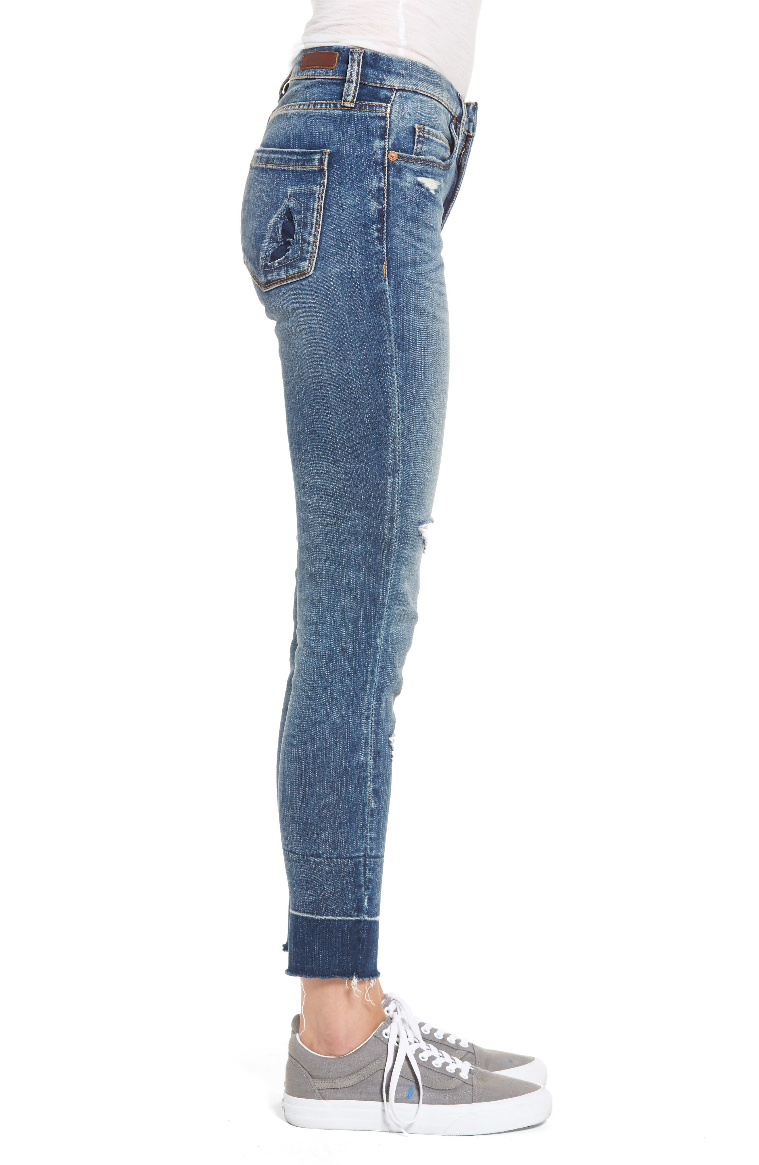 Ankle Skinny Jeans,                             Alternate thumbnail 4, color,                             Dark Wash
