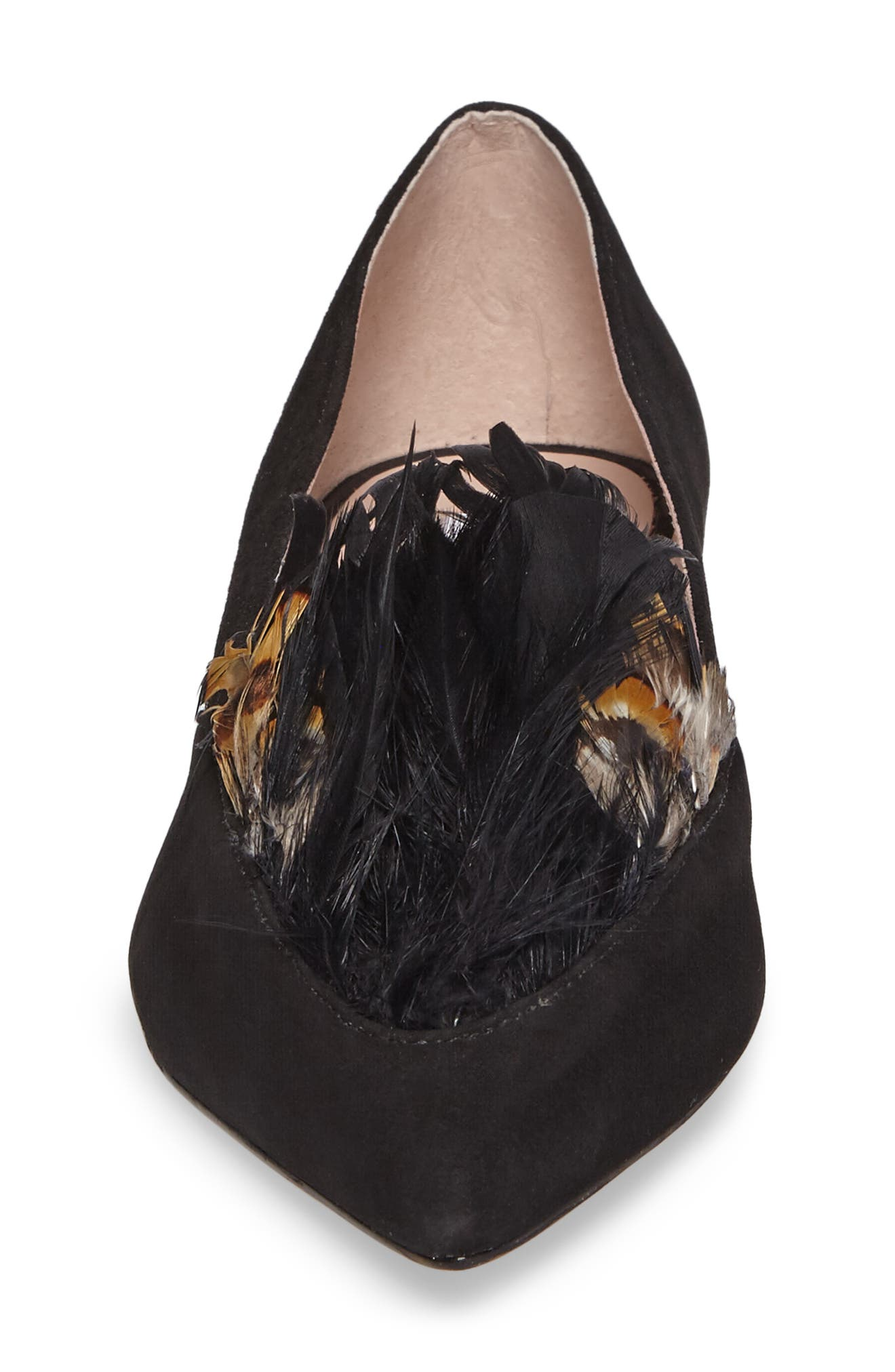 Vanya Feather Flat,                             Alternate thumbnail 3, color,                             Black Suede