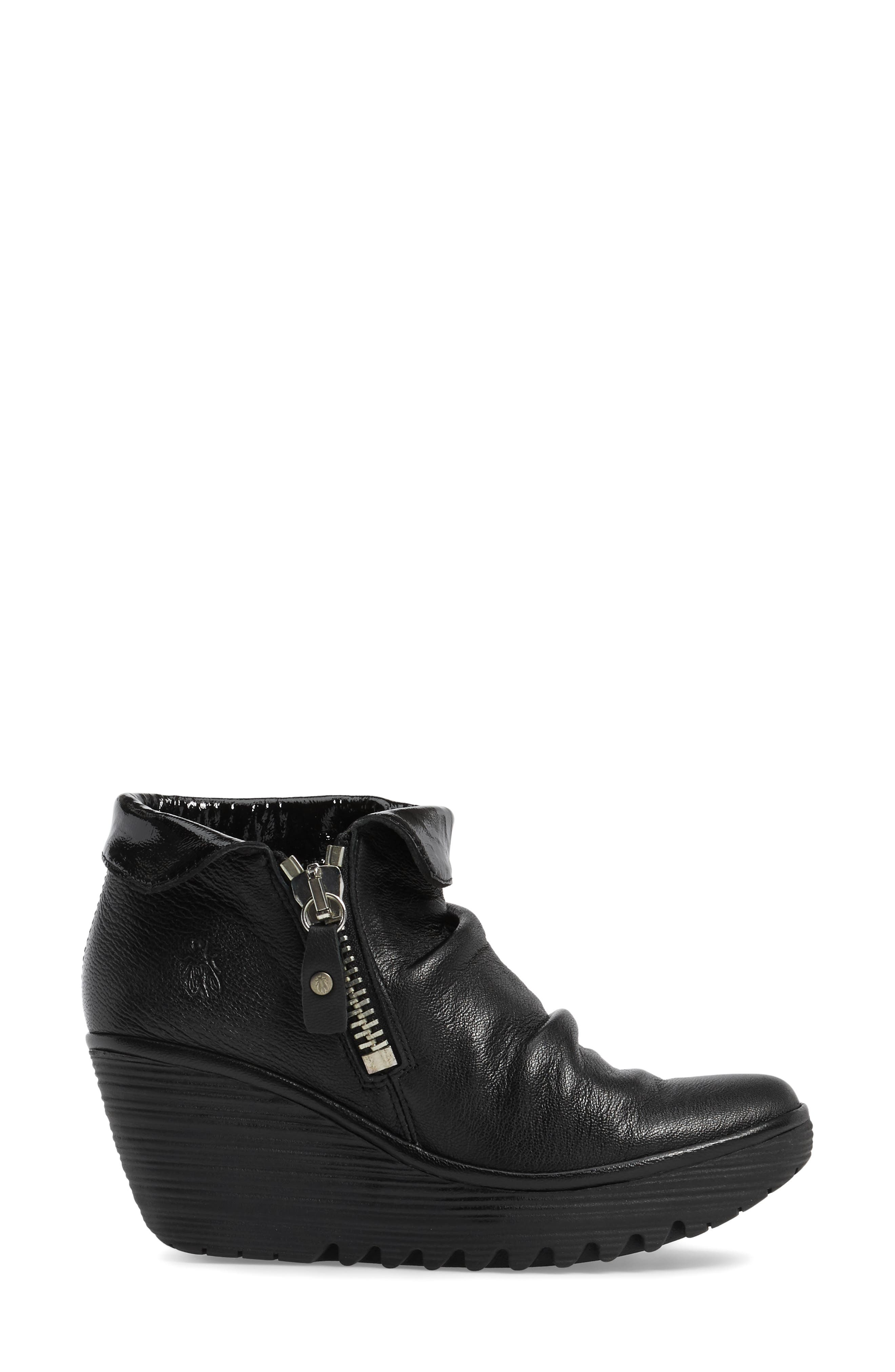 Yoxi Wedge Bootie,                             Alternate thumbnail 3, color,                             Black Leather