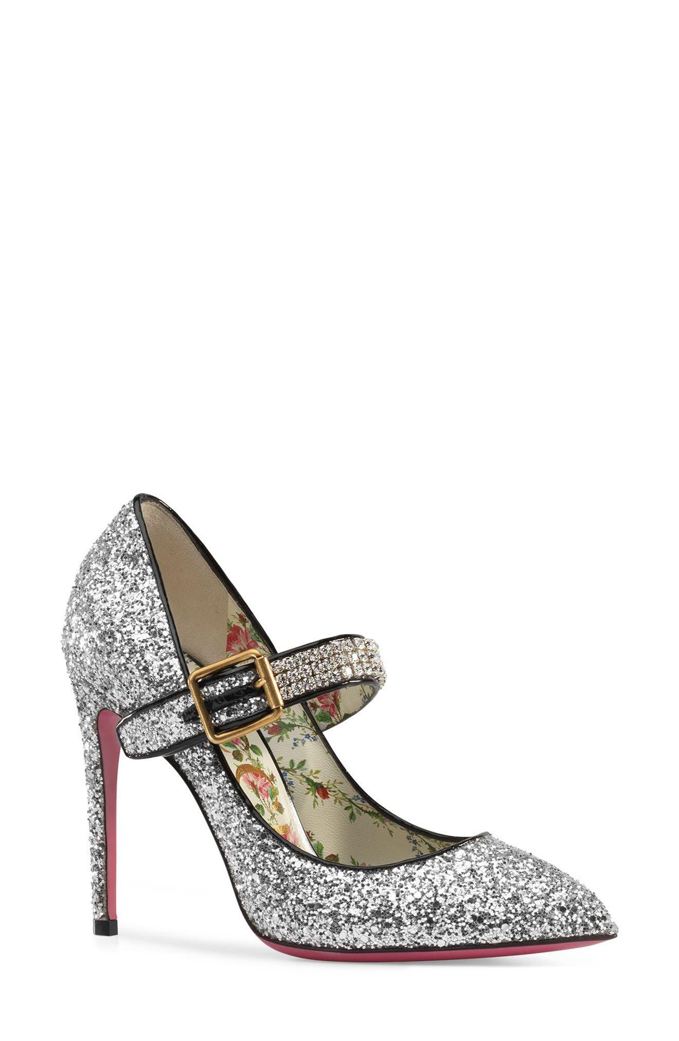 Sylvie Pointy Toe Mary Jane Pump,                         Main,                         color, Silver Glitter