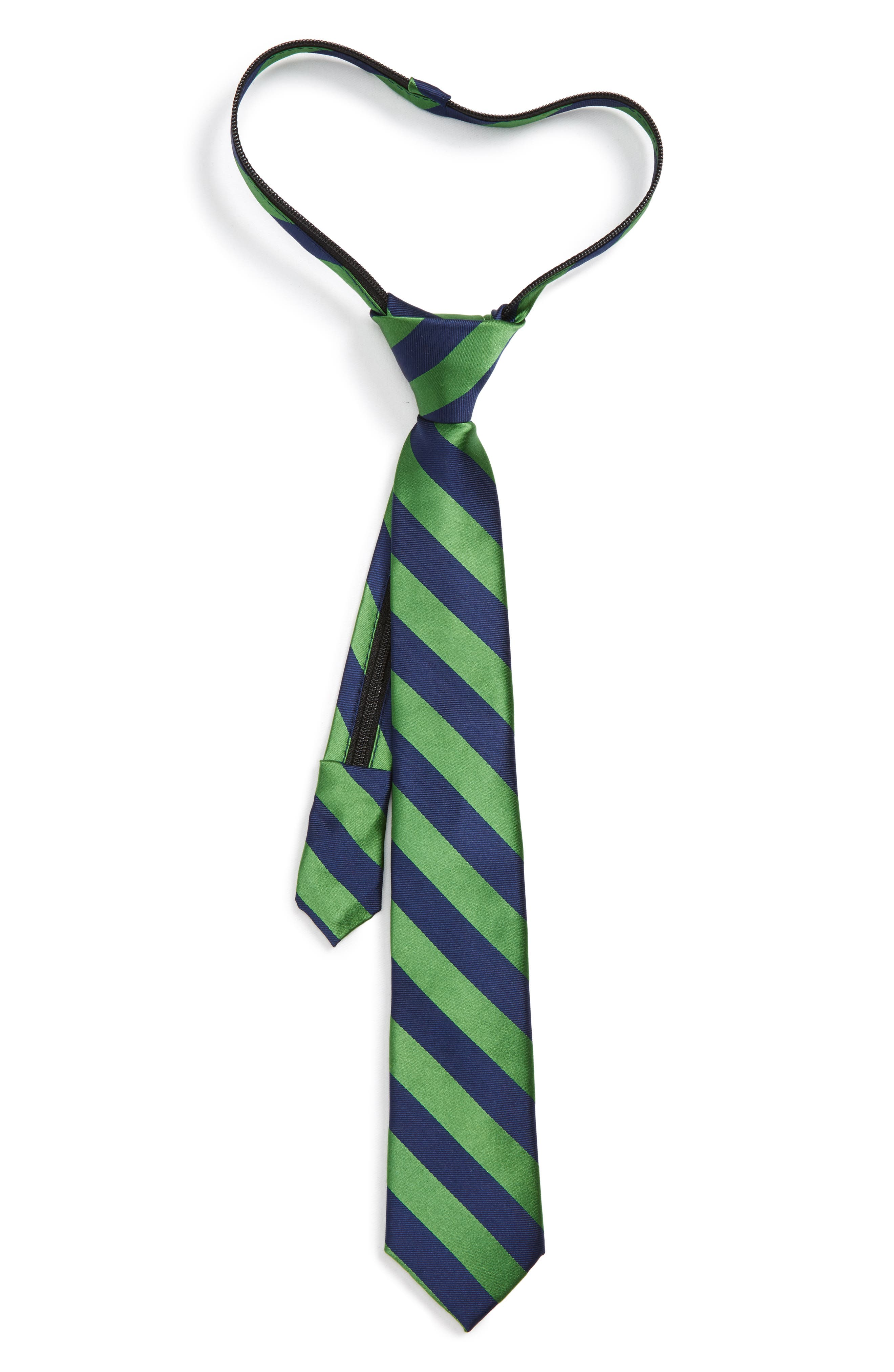 Stripe Silk Zip Tie,                         Main,                         color, Green