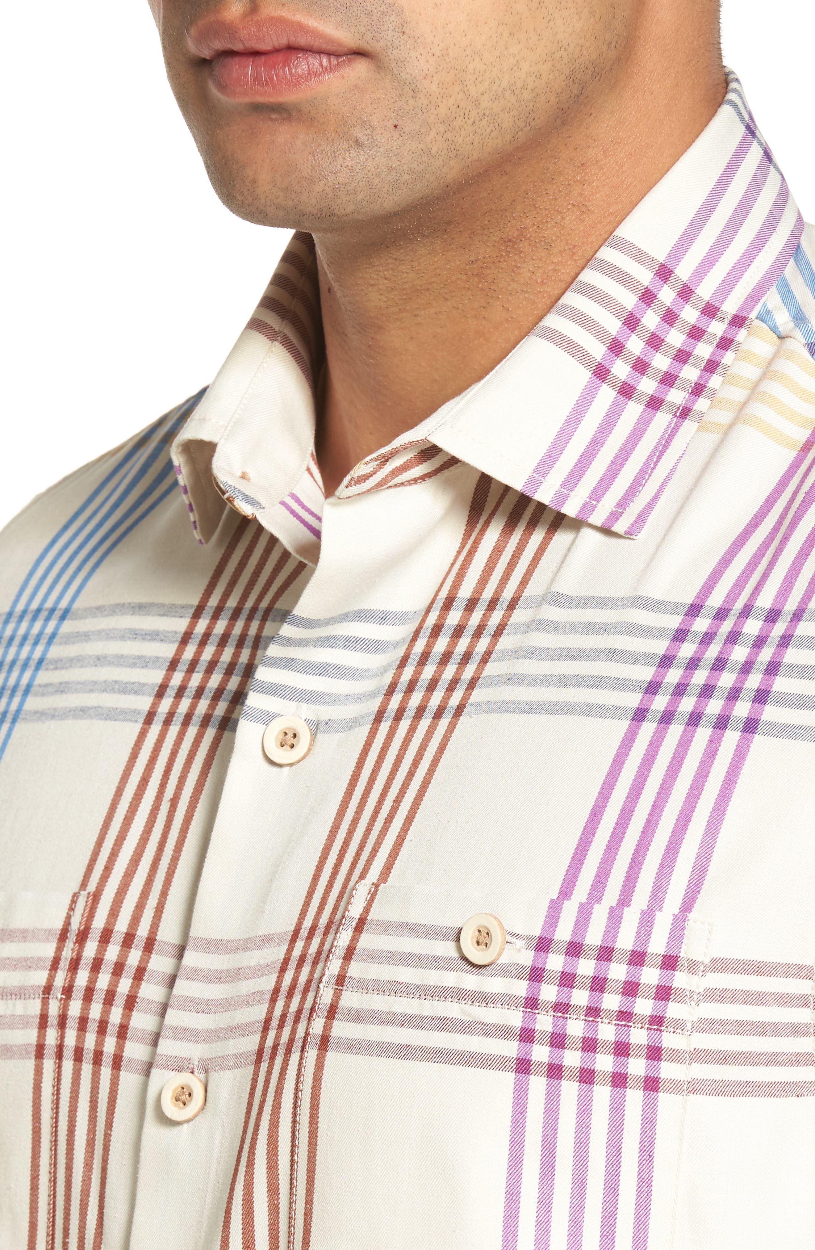 Mo' Rockin Standard Fit Silk Woven Shirt,                             Alternate thumbnail 4, color,                             Coconut Cream