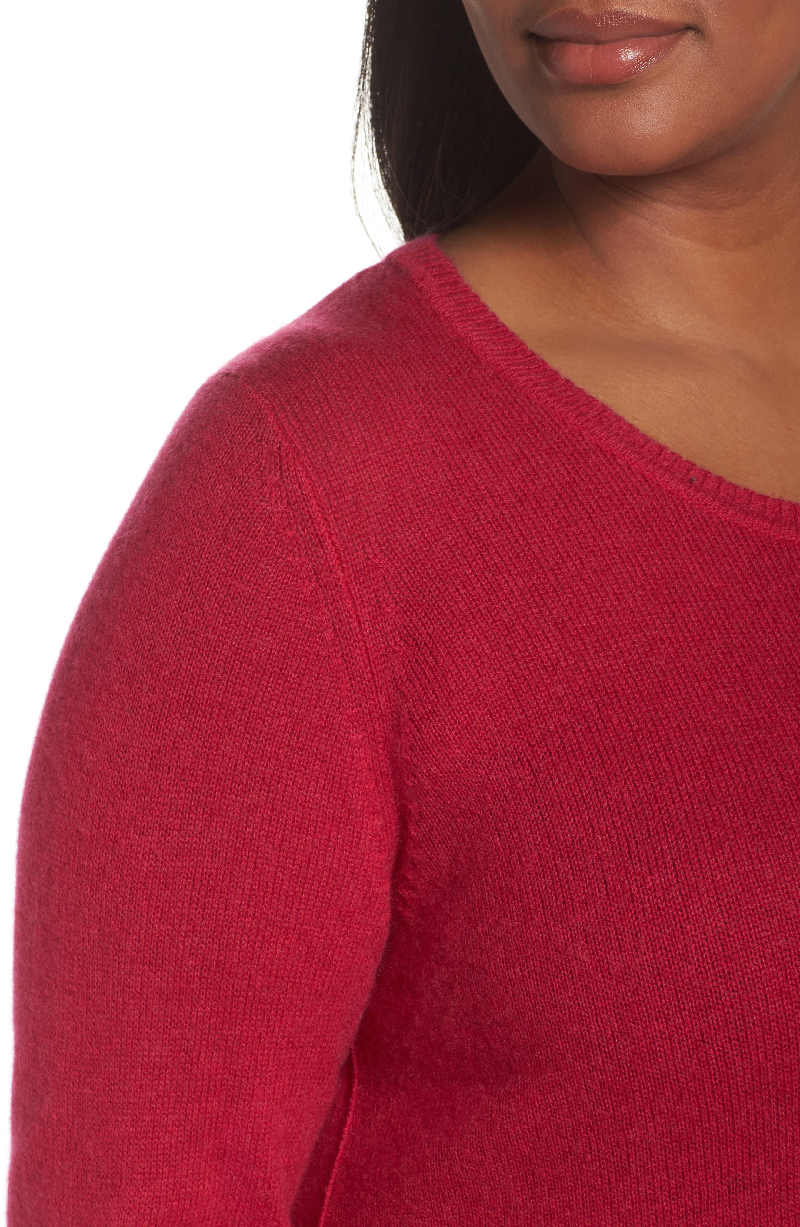 Alternate Image 4  - Sejour Crewneck Side Split Wool & Cashmere Pullover (Plus Size)