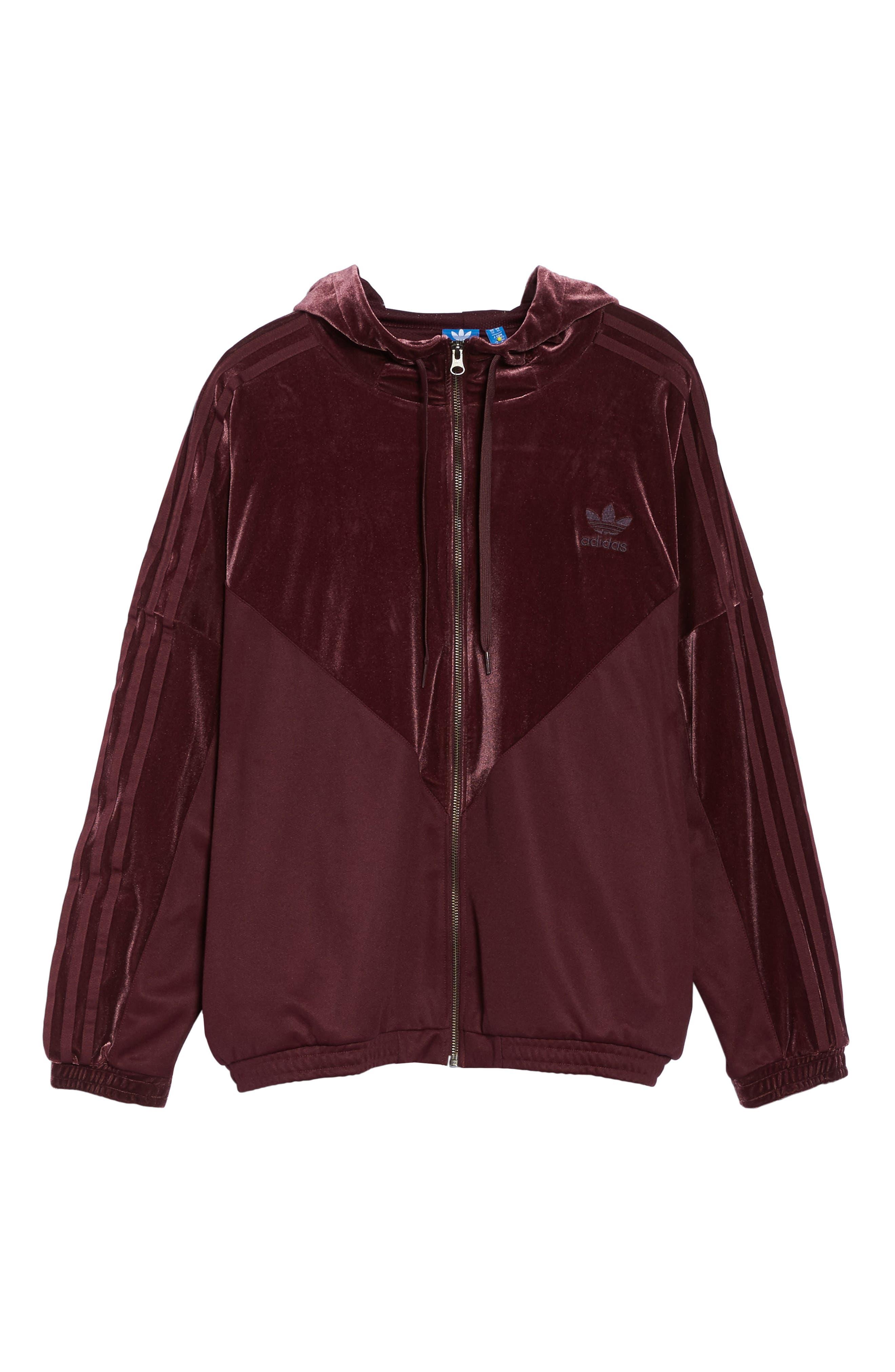 Velvet Zip Sweatshirt,                             Alternate thumbnail 7, color,                             Maroon