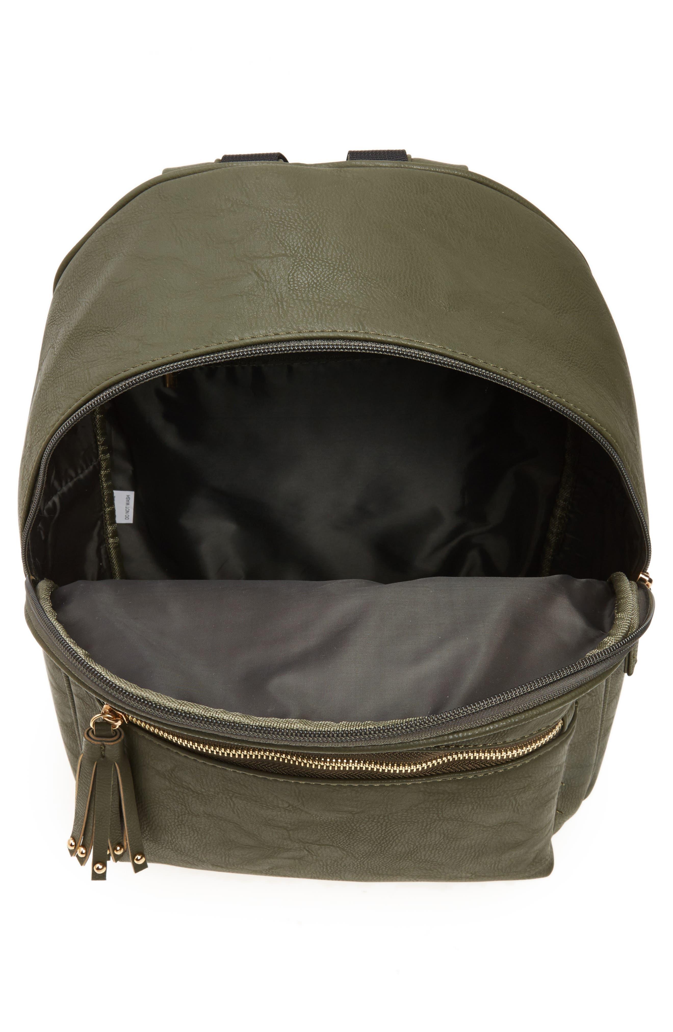 Alternate Image 4  - OMG Sequin Rose Appliqué Faux Leather Backpack (Girls)