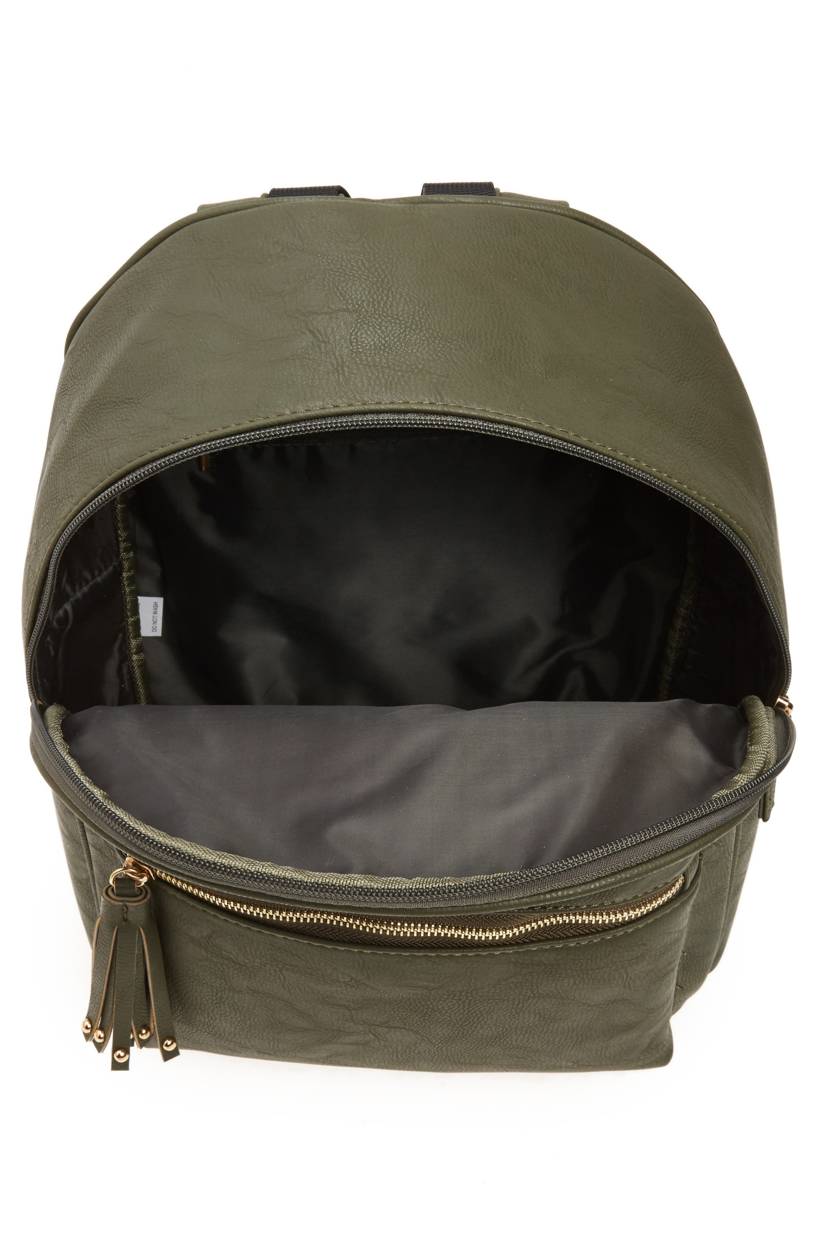Sequin Rose Appliqué Faux Leather Backpack,                             Alternate thumbnail 4, color,                             Olive
