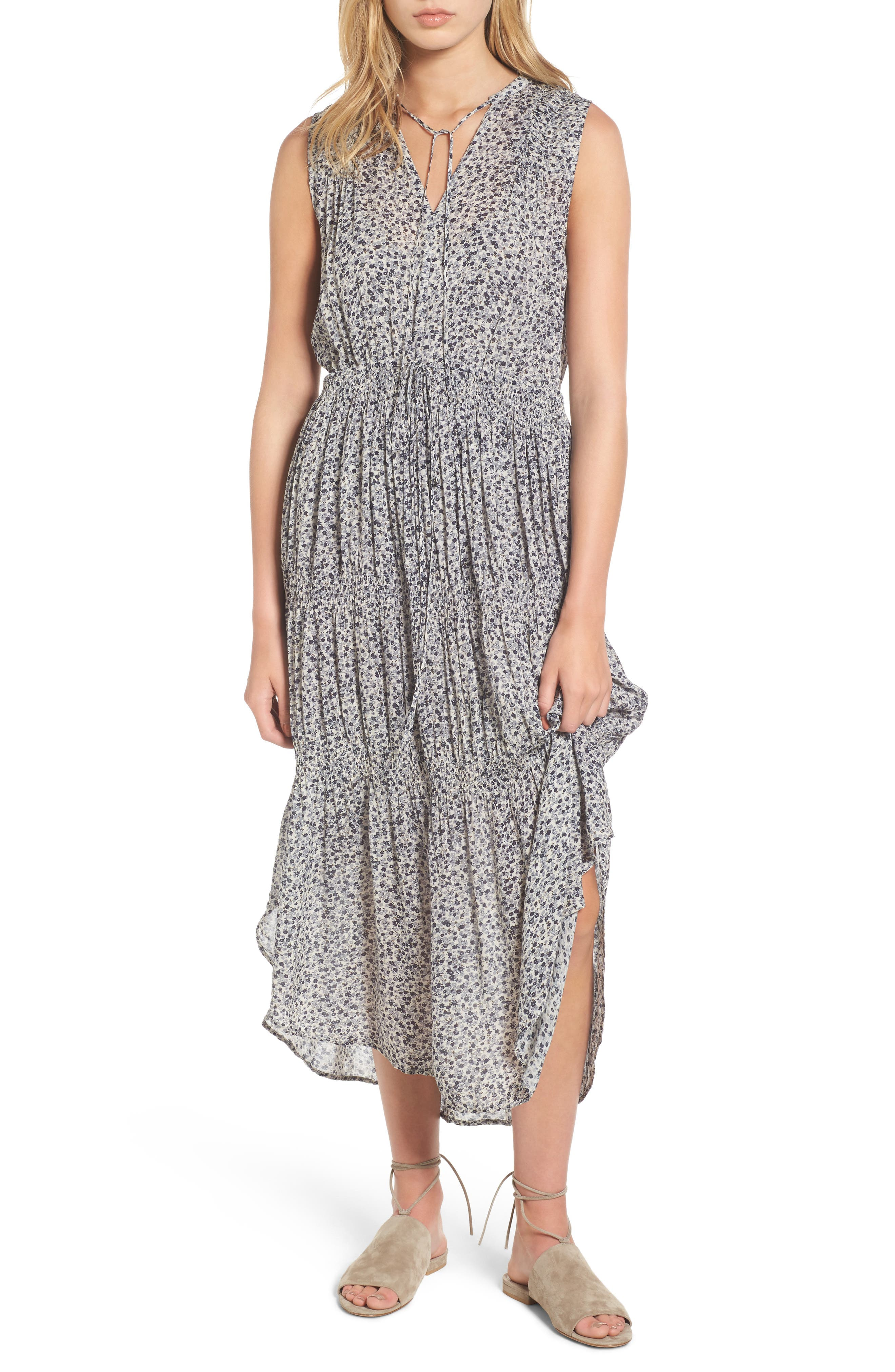 Floral Pleated Midi Dress,                         Main,                         color, North/ Pearl Grey