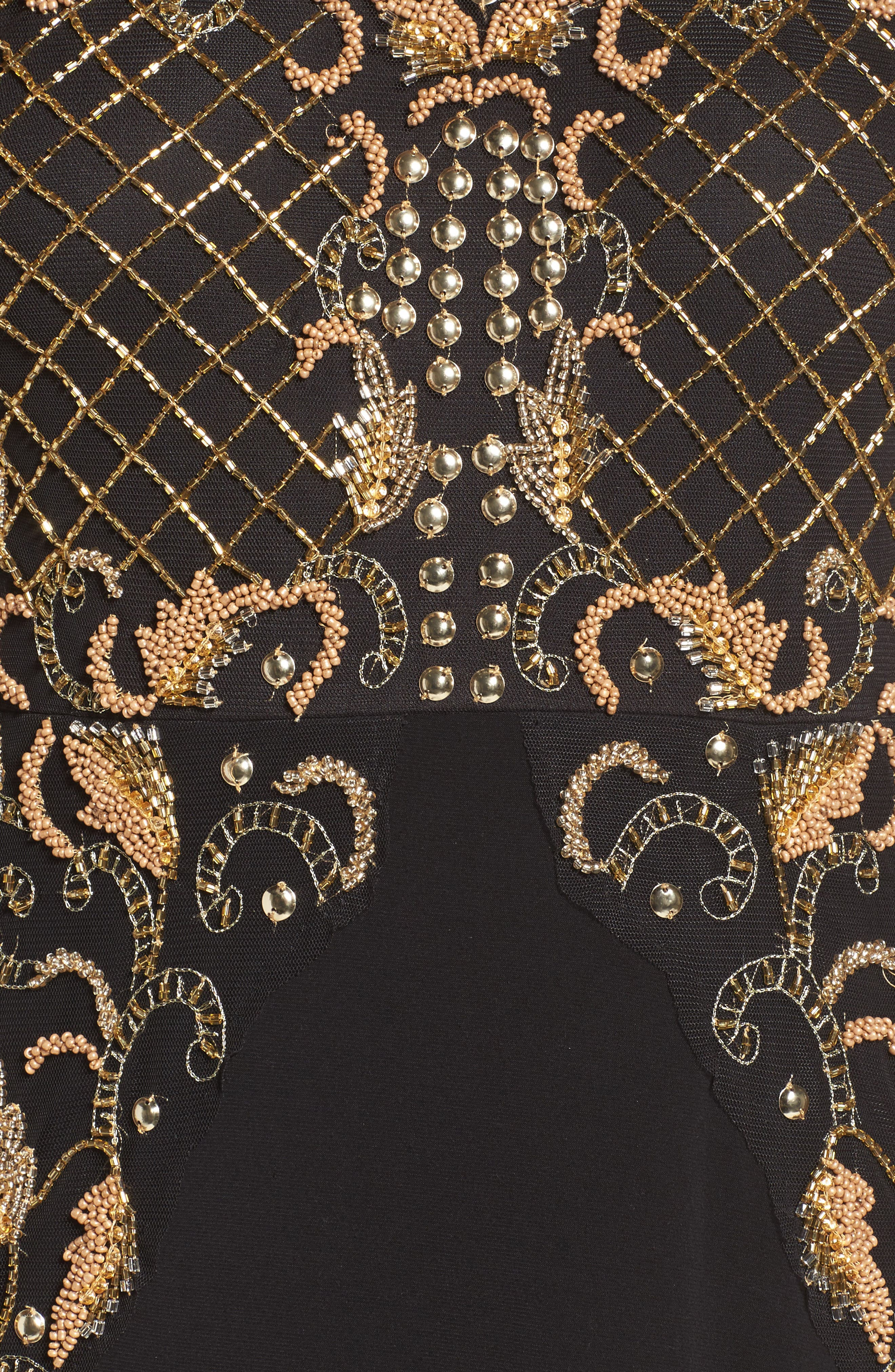Beaded Gown,                             Alternate thumbnail 5, color,                             Black Gold