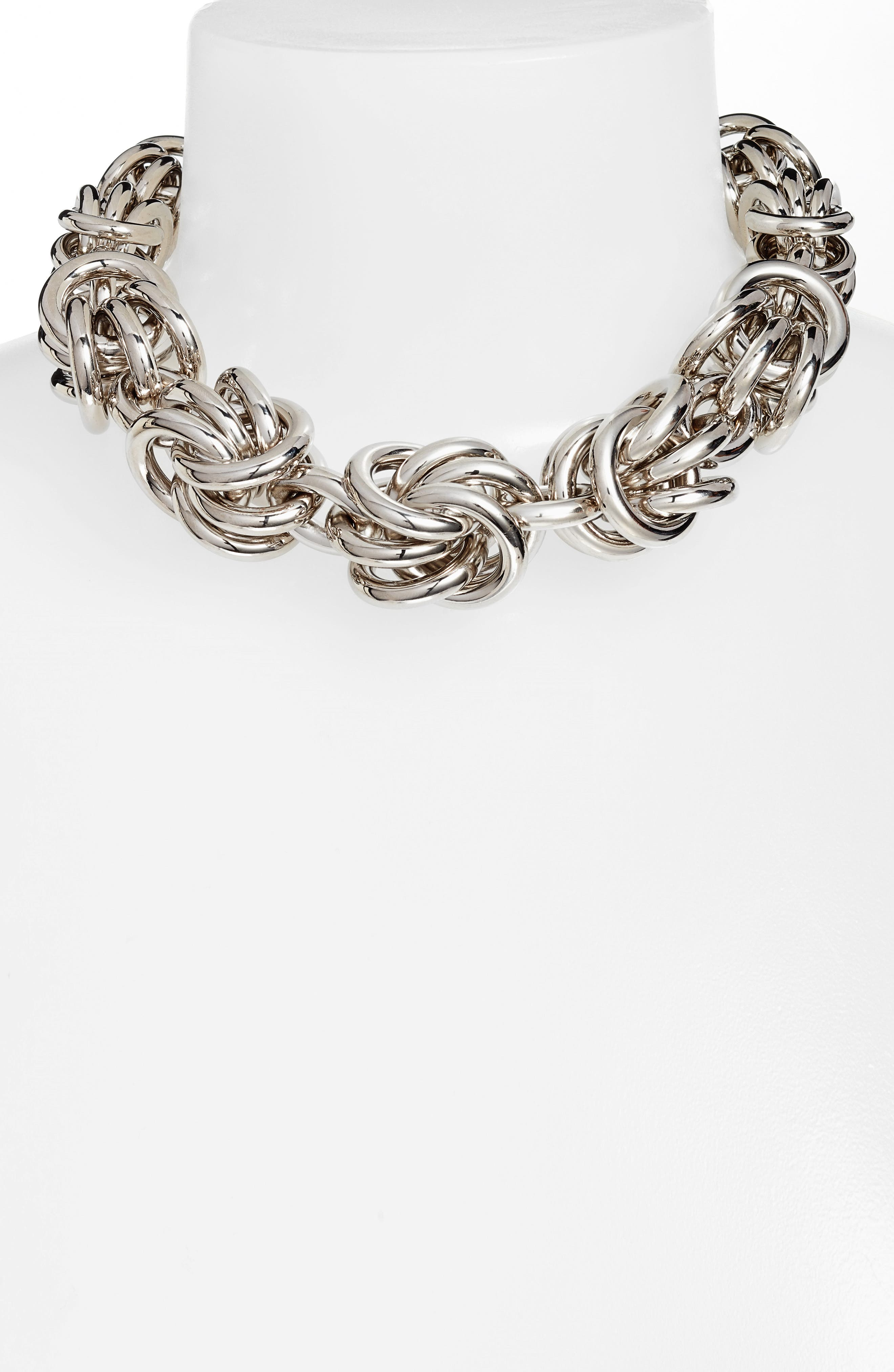 Knot Link Necklace,                         Main,                         color, Silver