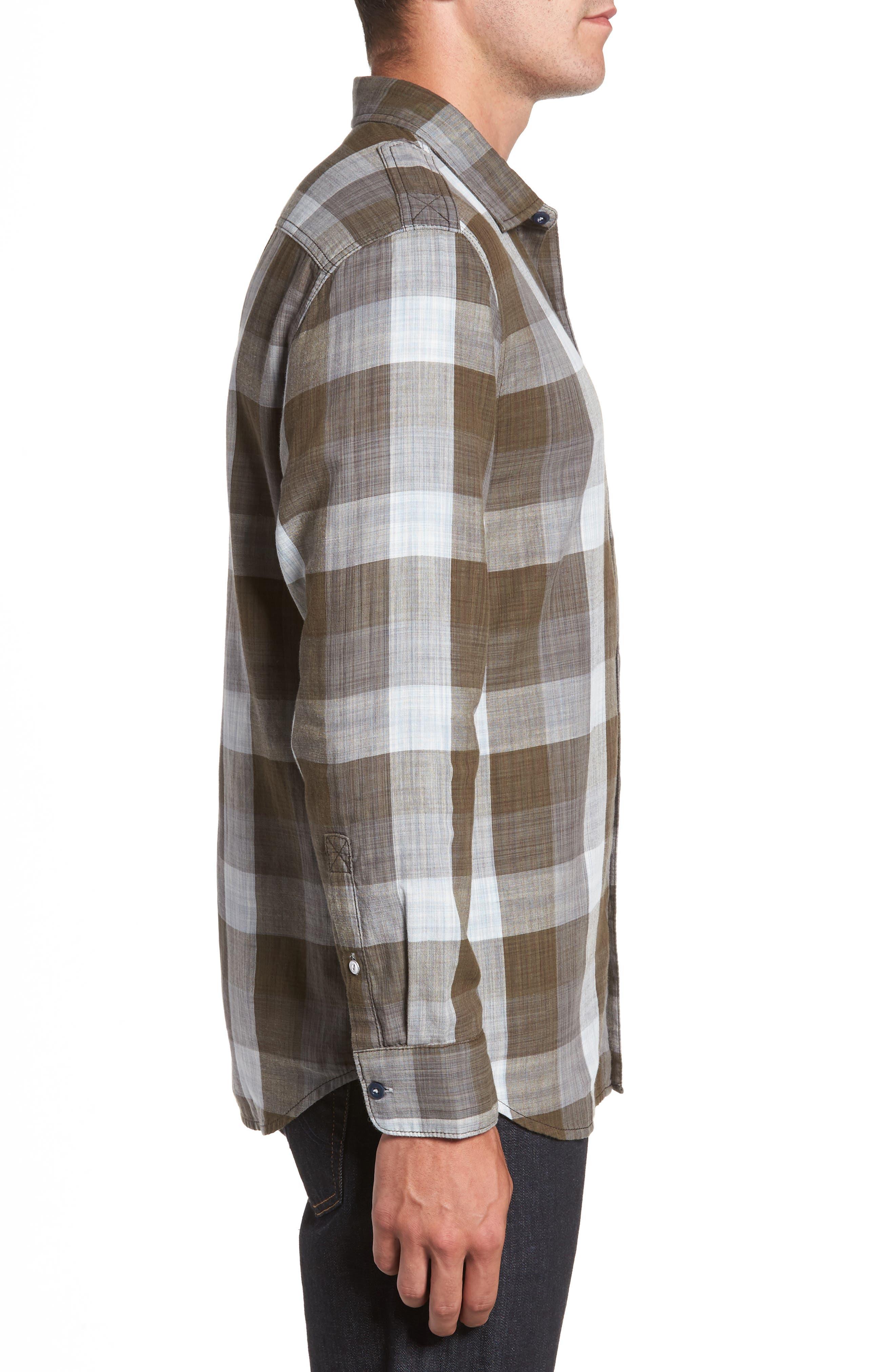 Dual Lux Standard Fit Check Sport Shirt,                             Alternate thumbnail 3, color,                             Pebble Grey