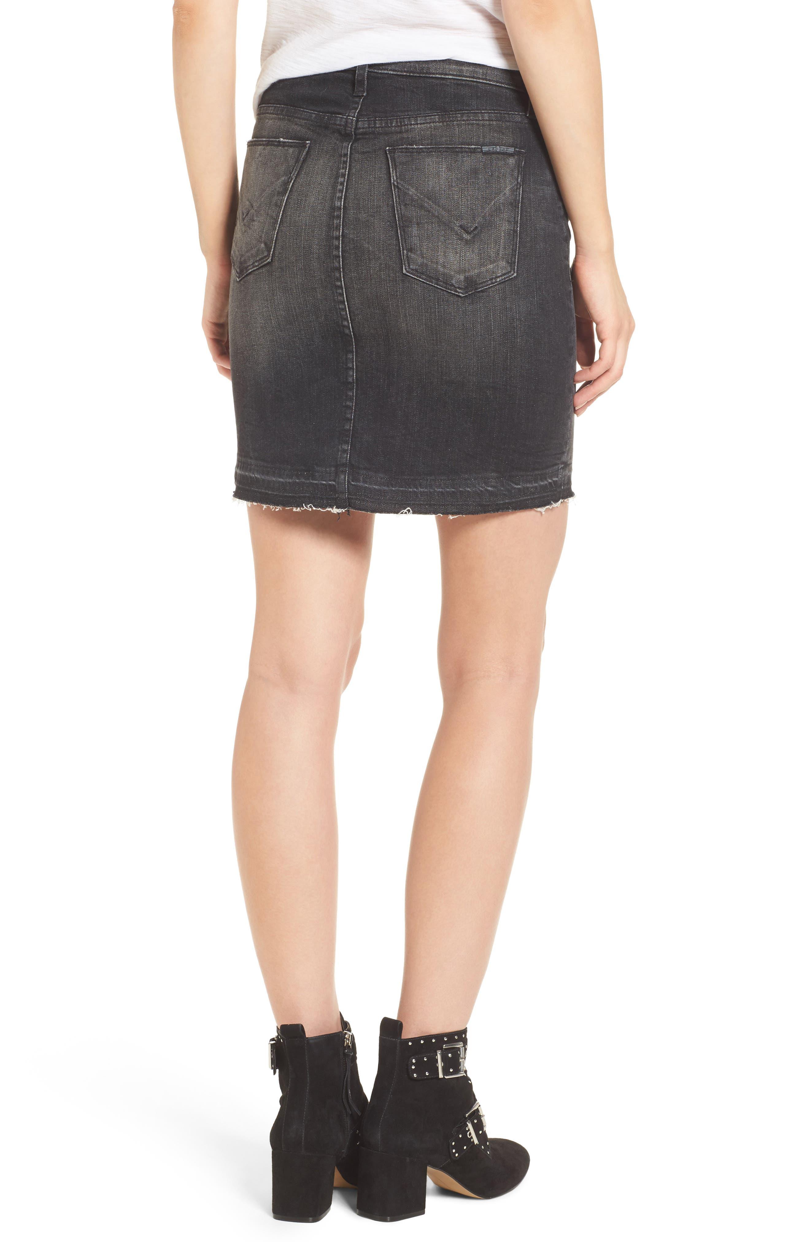 Robbie Cutoff Denim Miniskirt,                             Alternate thumbnail 2, color,                             Black