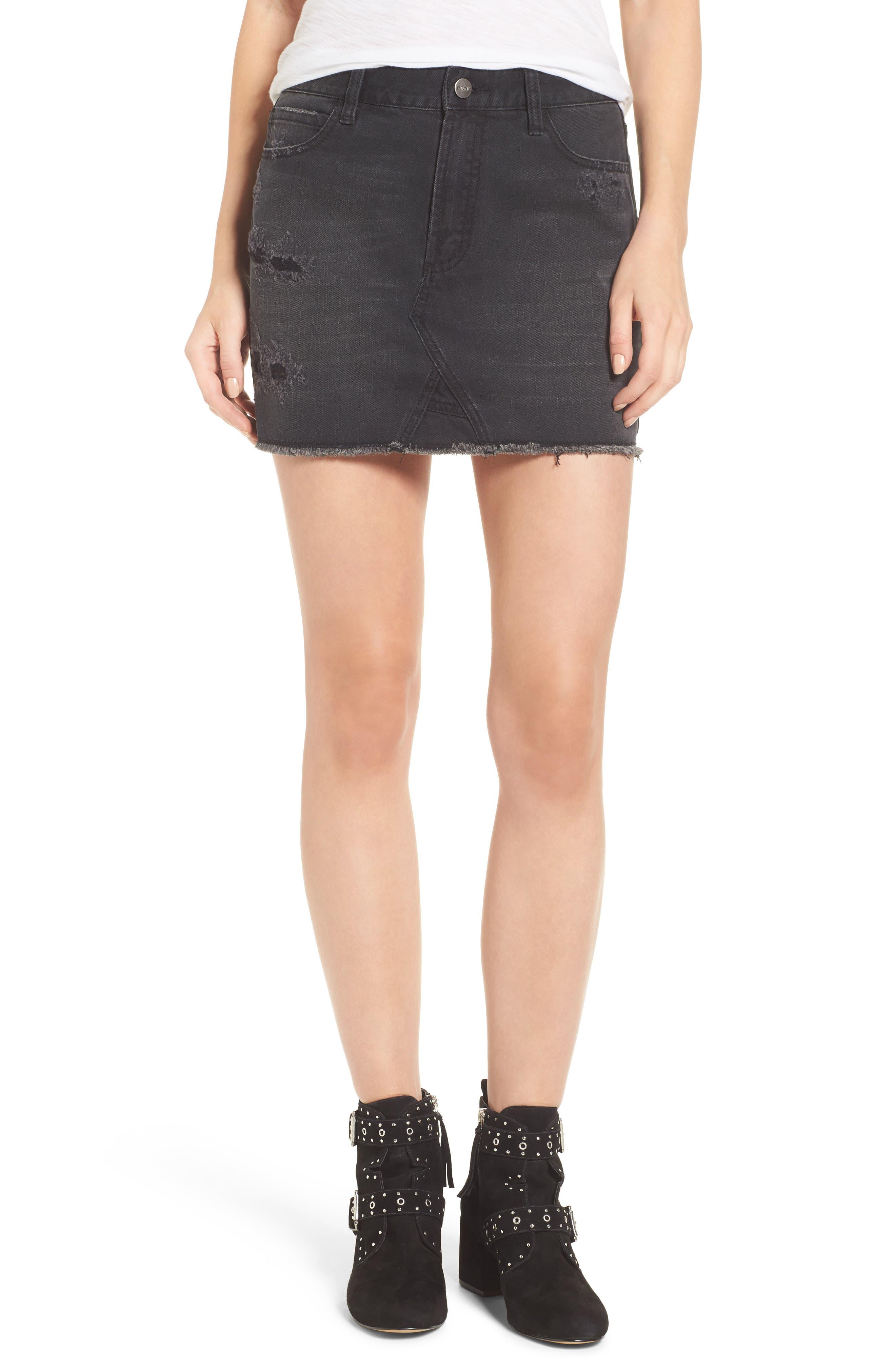 Destroyed Denim Miniskirt,                         Main,                         color, Black