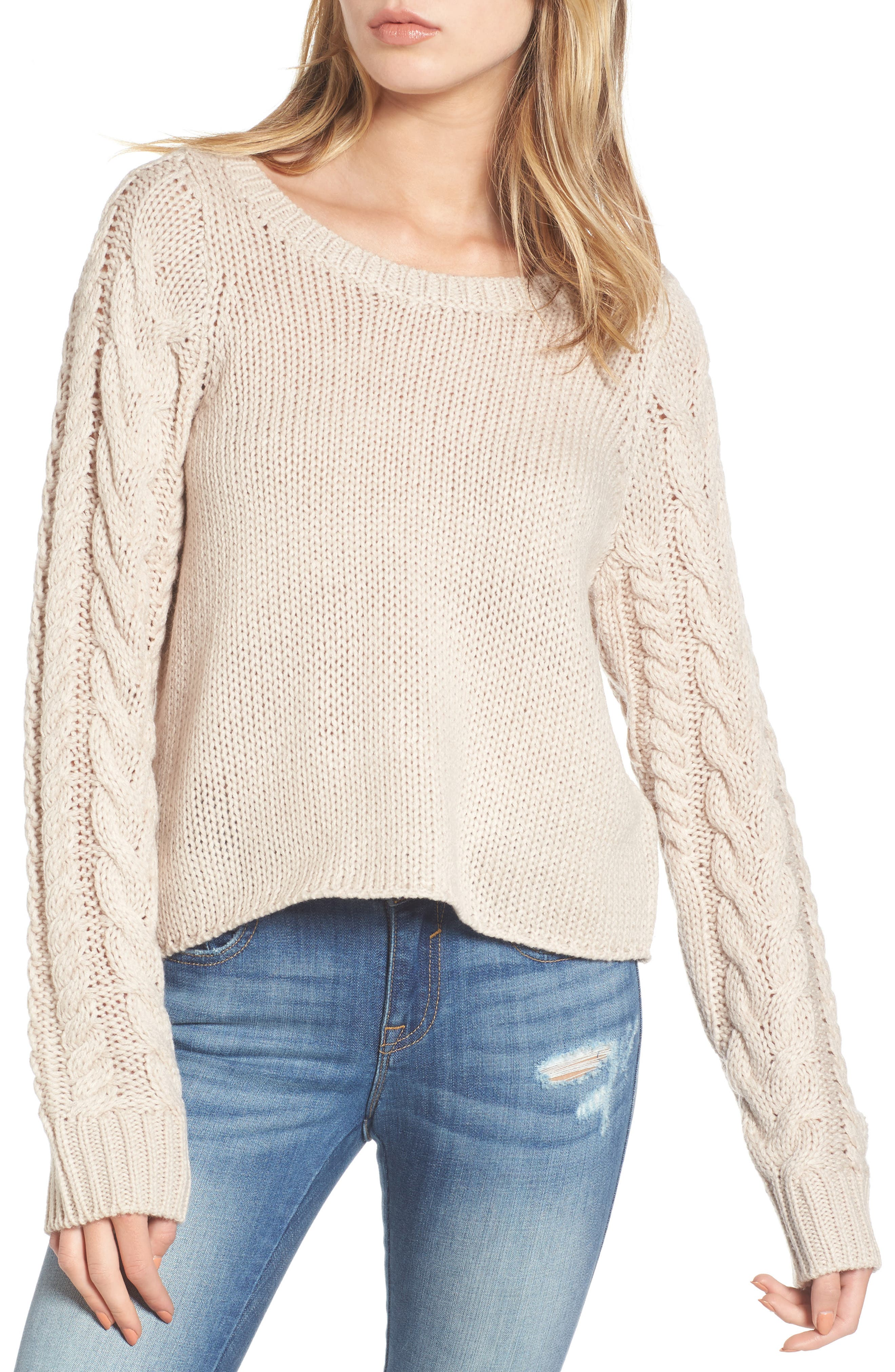 Cable Sleeve Pullover,                         Main,                         color, Beige Morn