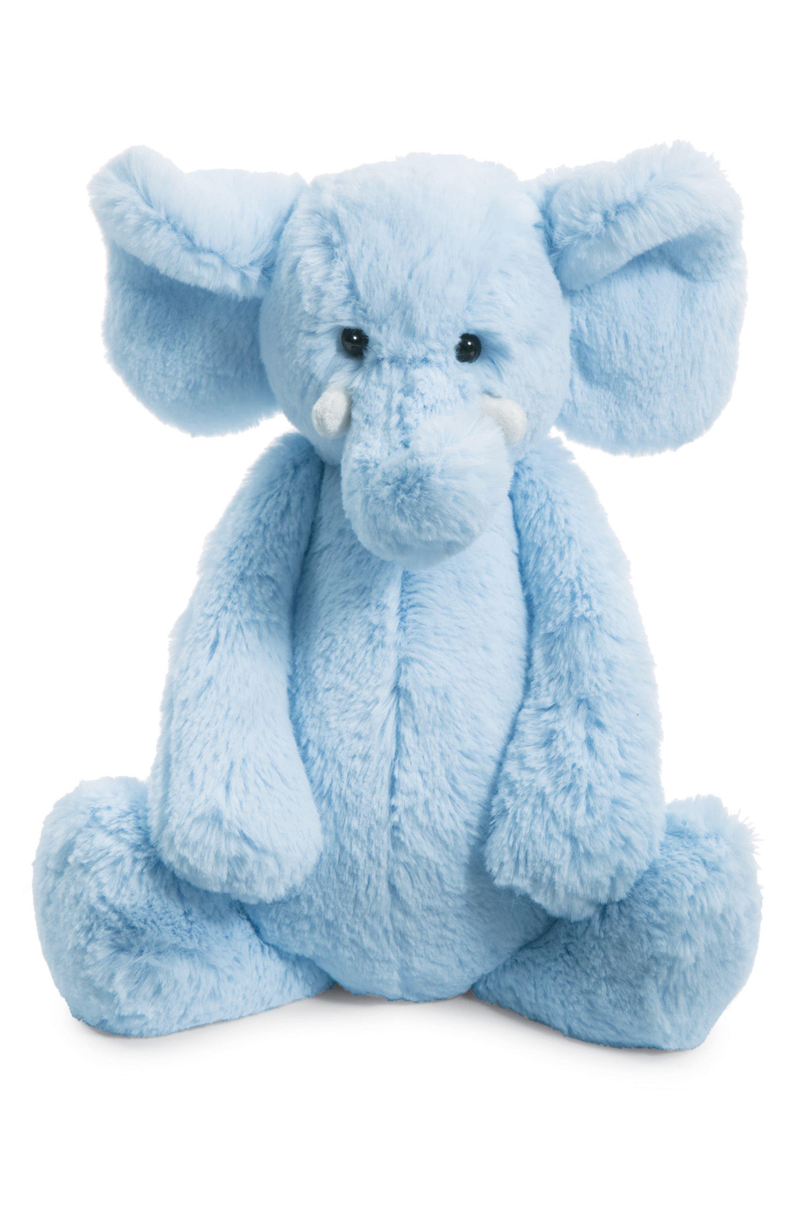 Chime Stuffed Elephant,                         Main,                         color, Blue