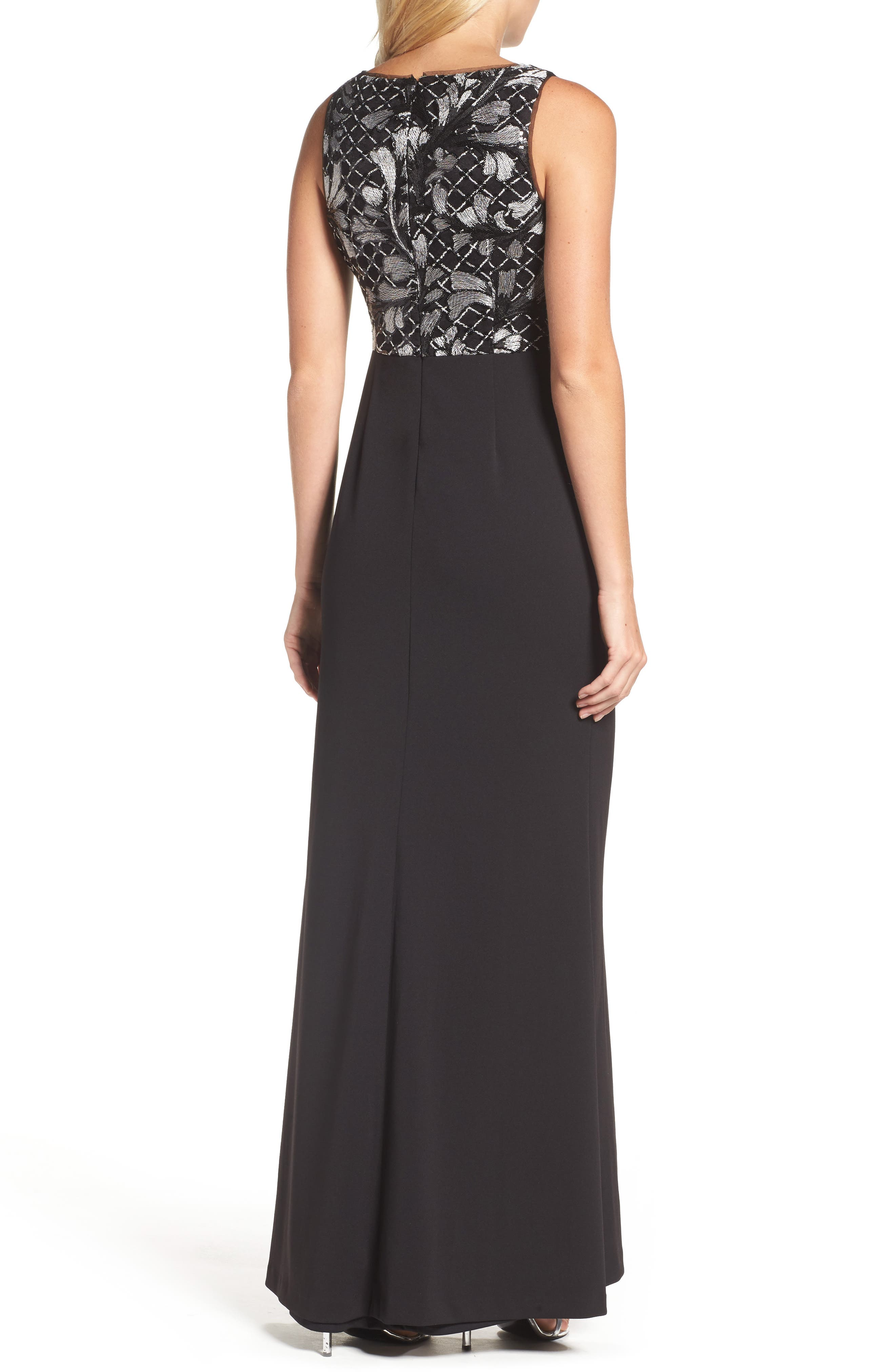 Alternate Image 2  - Adrianna Papell Embroidered Bodice Gown (Regular & Petite)