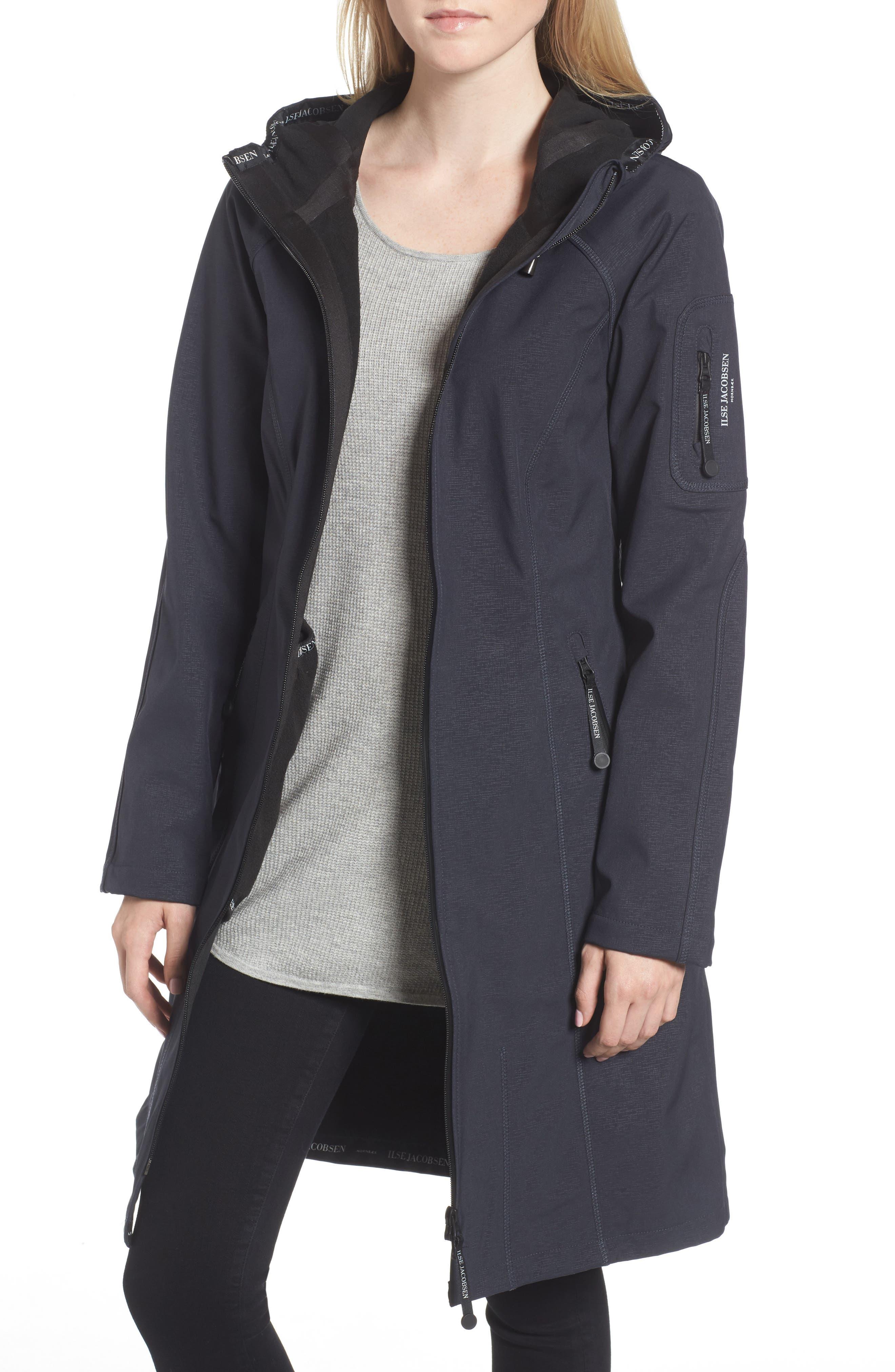 Long Hooded Raincoat,                         Main,                         color, Indigo