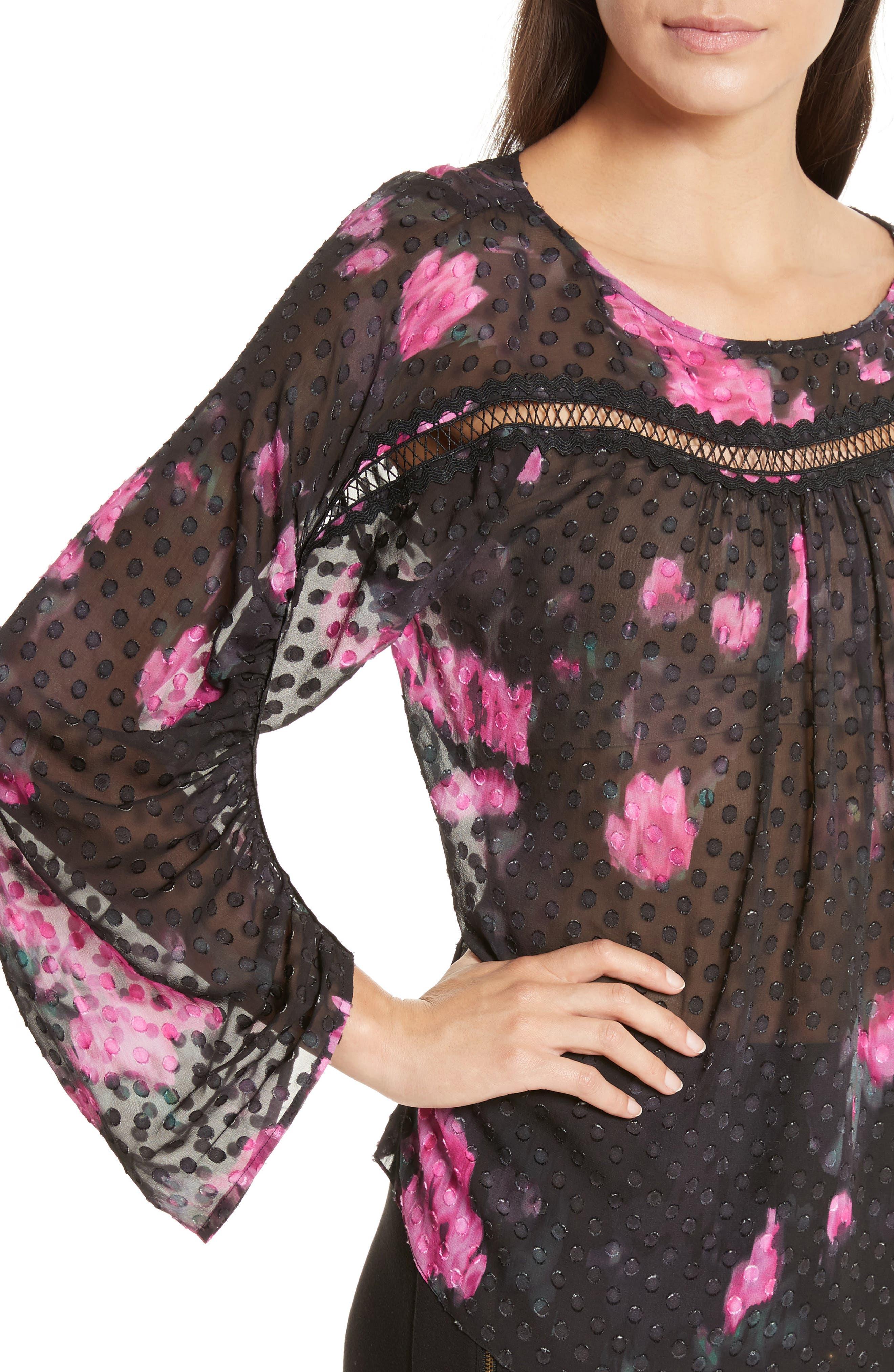 Floral Silk Blouse,                             Alternate thumbnail 4, color,                             Black/ Cactus Warp Floral