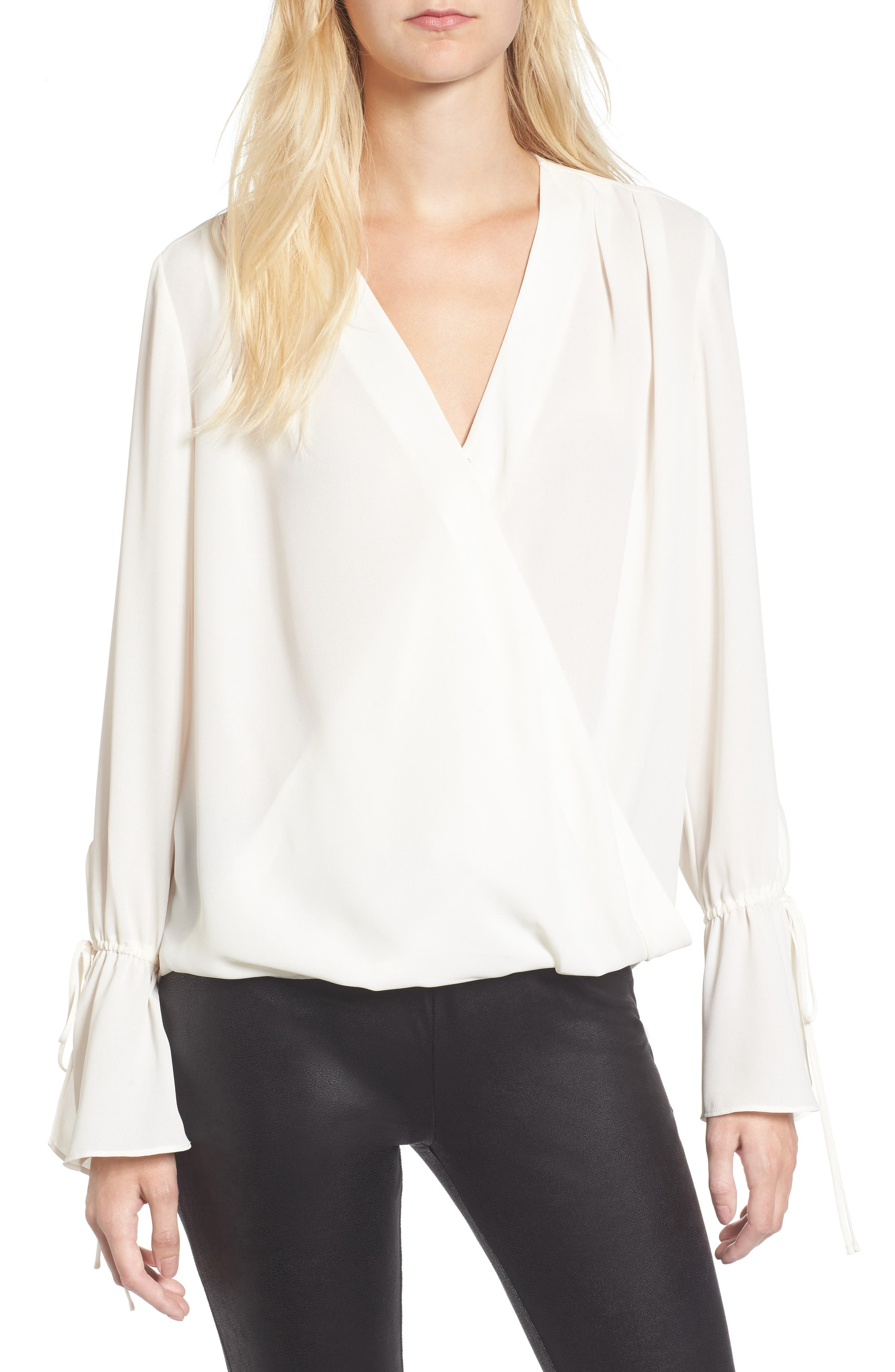 Surplice Tie Sleeve Top,                         Main,                         color, Ivory