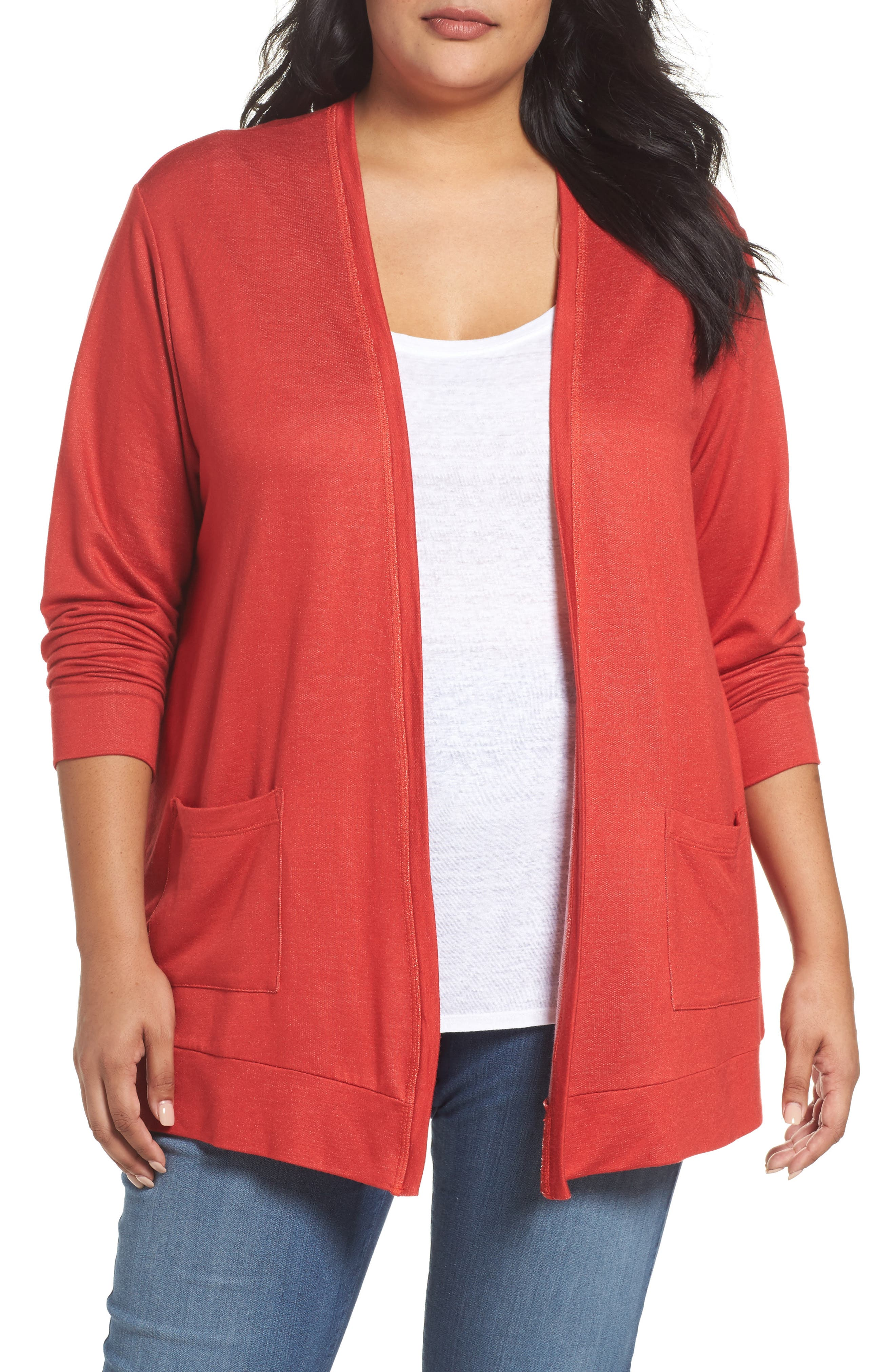 Open Front Cardigan,                         Main,                         color, Red Samba