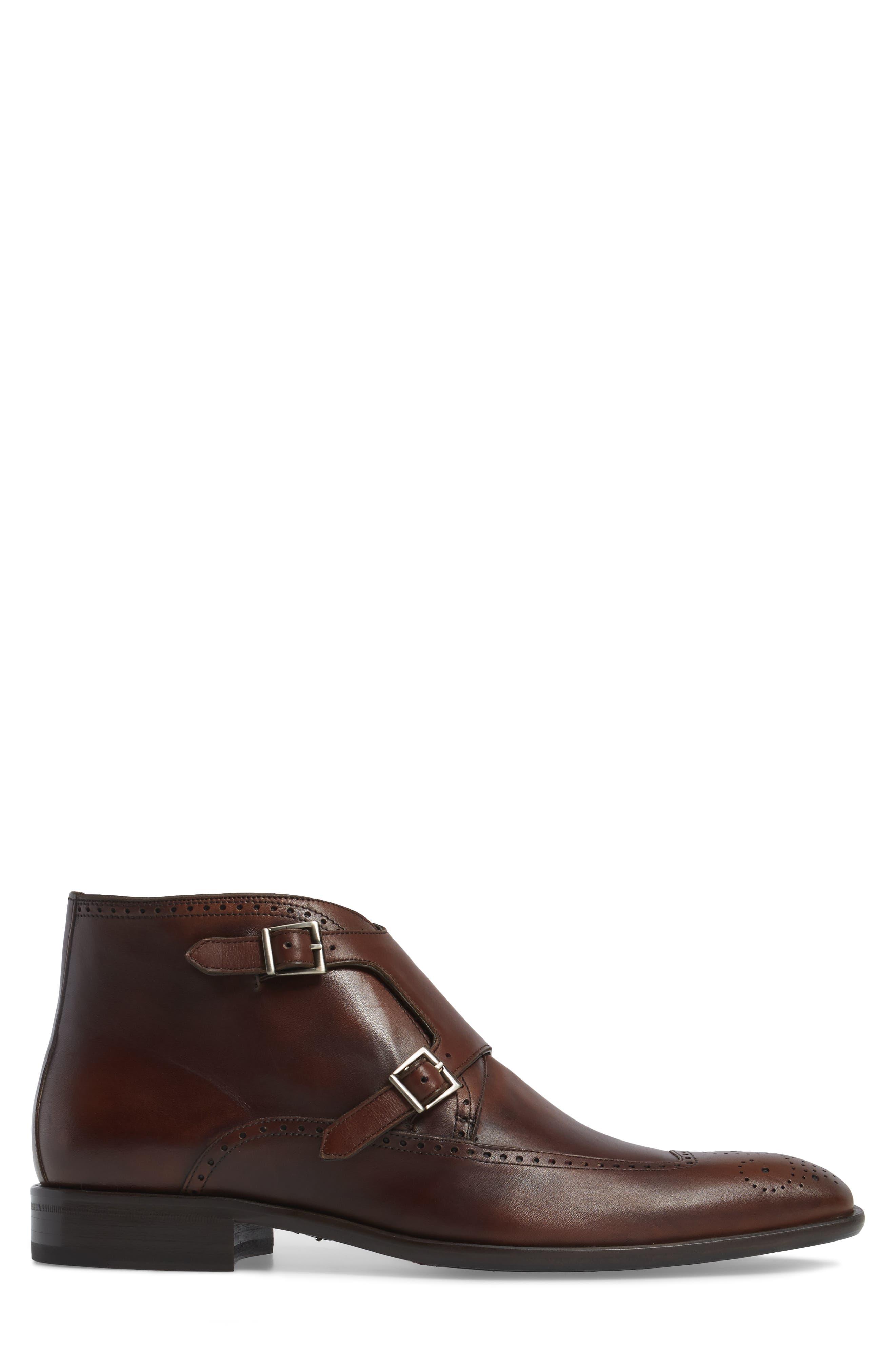 Taberna Double Monk Strap Boot,                             Alternate thumbnail 3, color,                             Cognac Leather