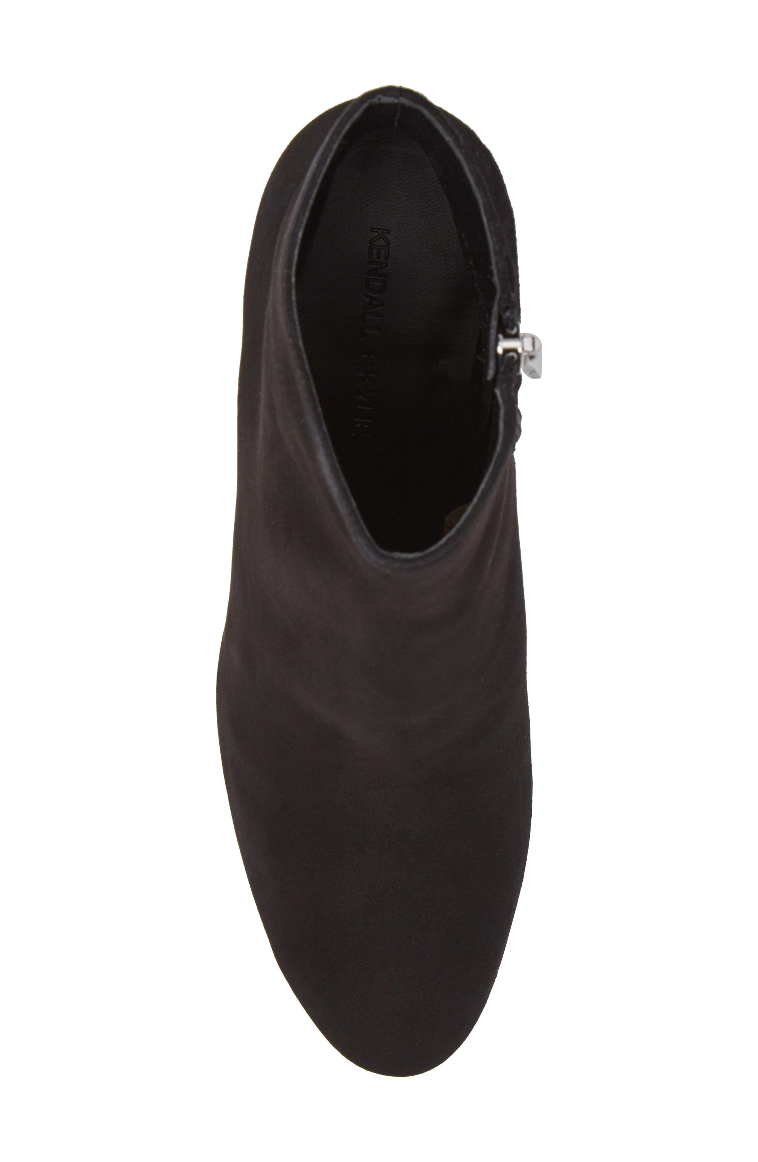 Blythe Studded Heel Bootie,                             Alternate thumbnail 5, color,                             Black Suede