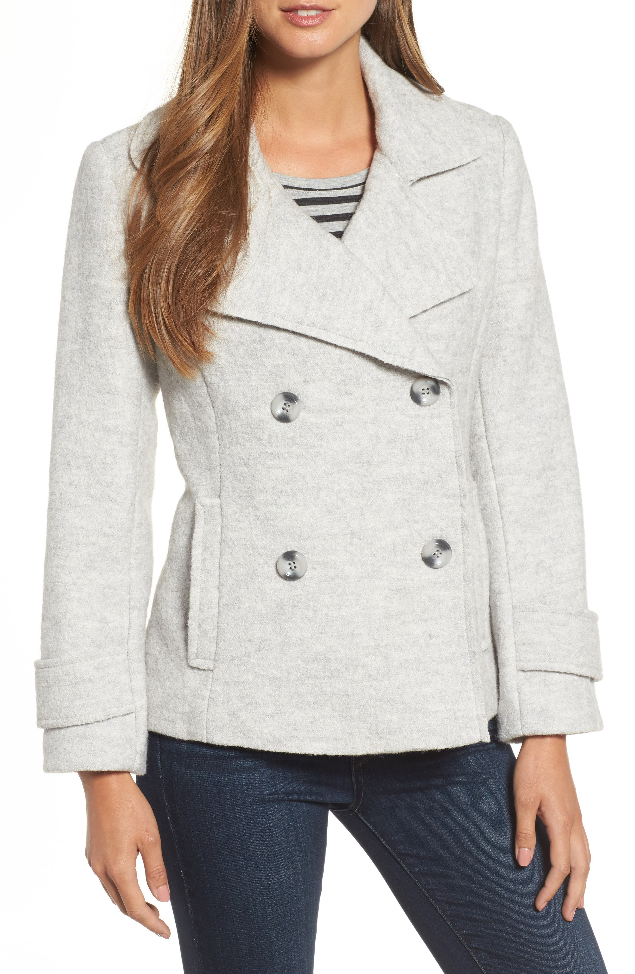 Double Breasted Jacket,                             Main thumbnail 1, color,                             Light Grey