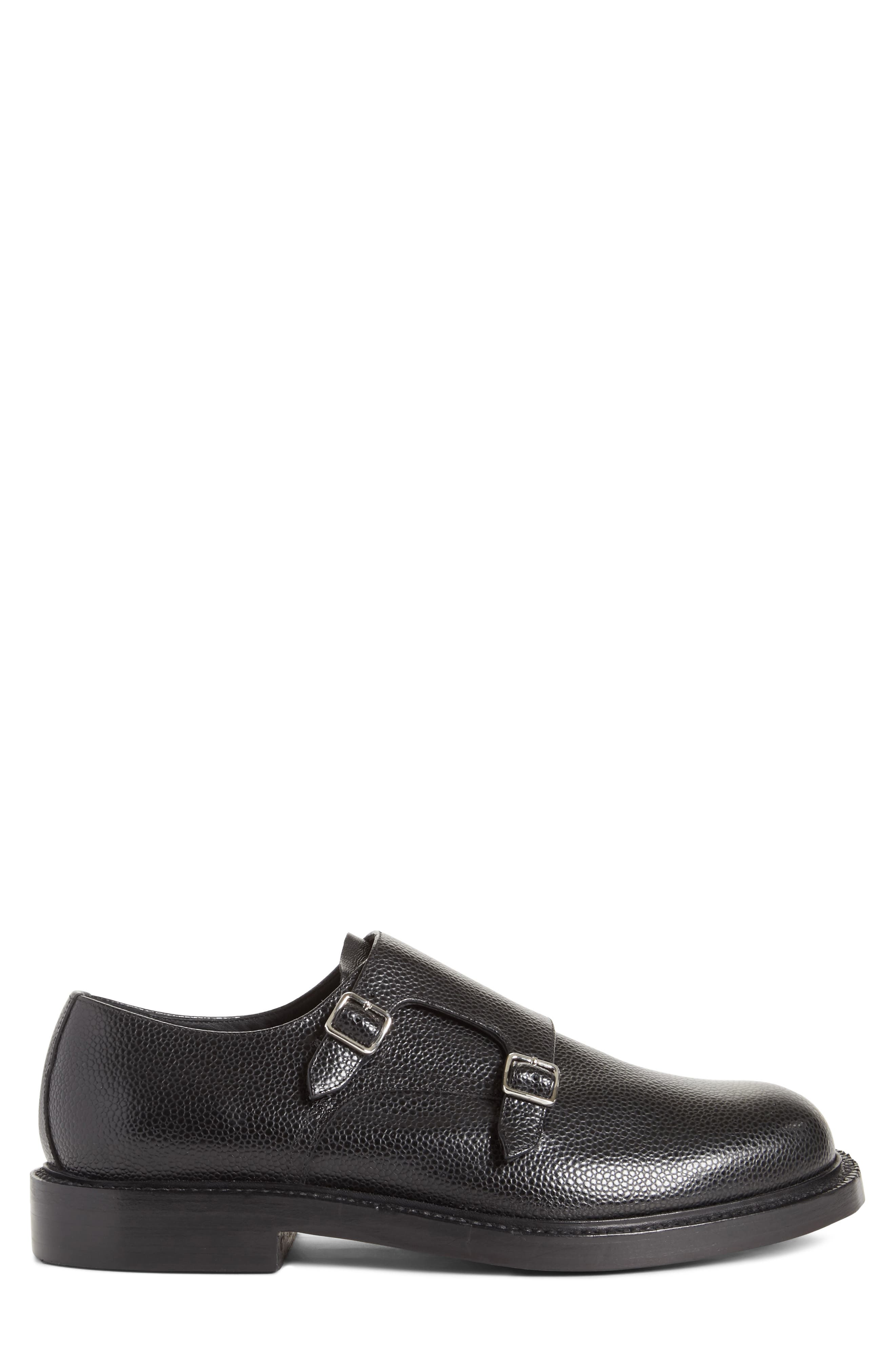 Hova Double Monk Strap Shoe,                             Alternate thumbnail 3, color,                             Black Leather