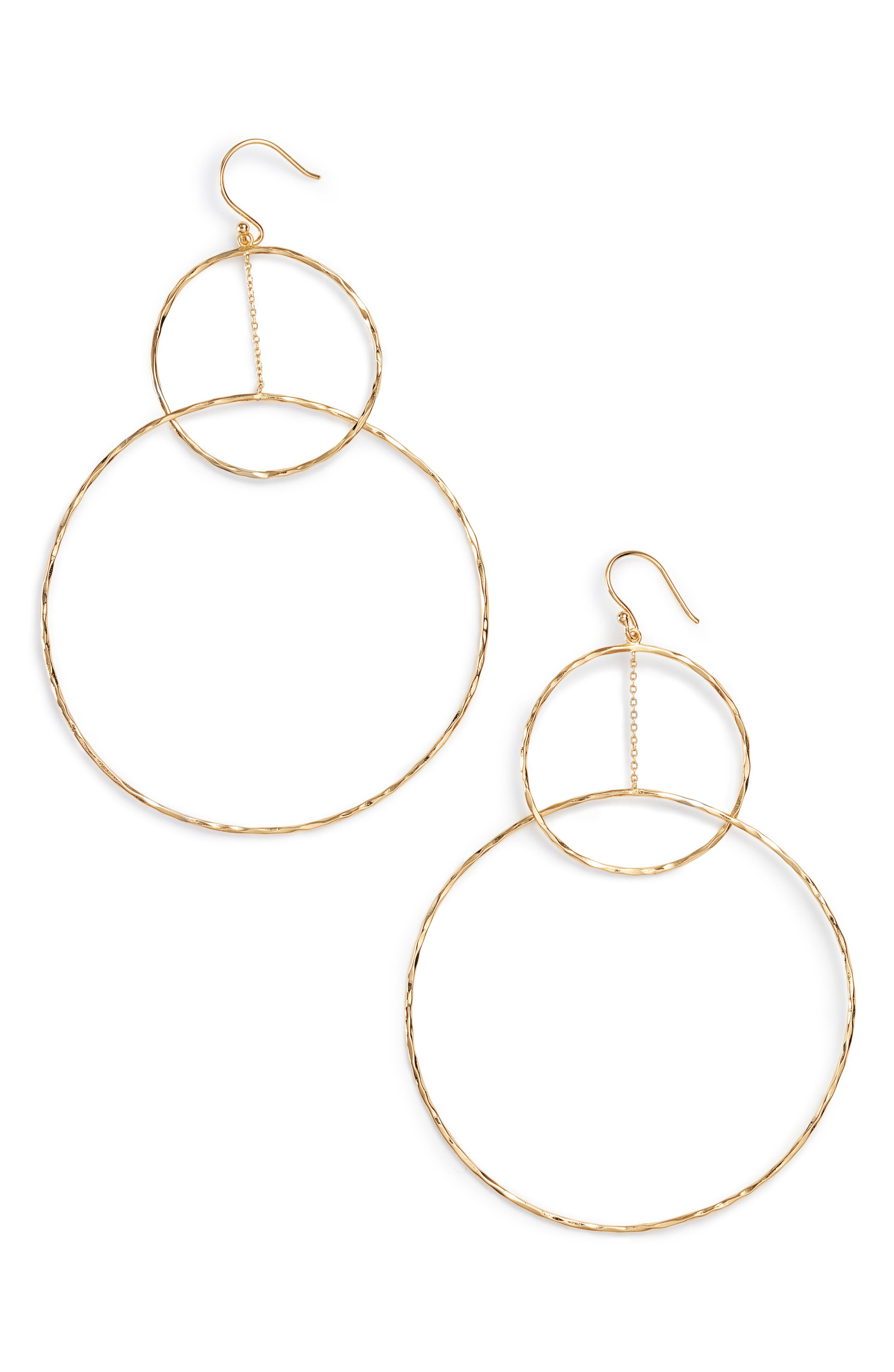 Large Drop Earrings,                         Main,                         color, Gold