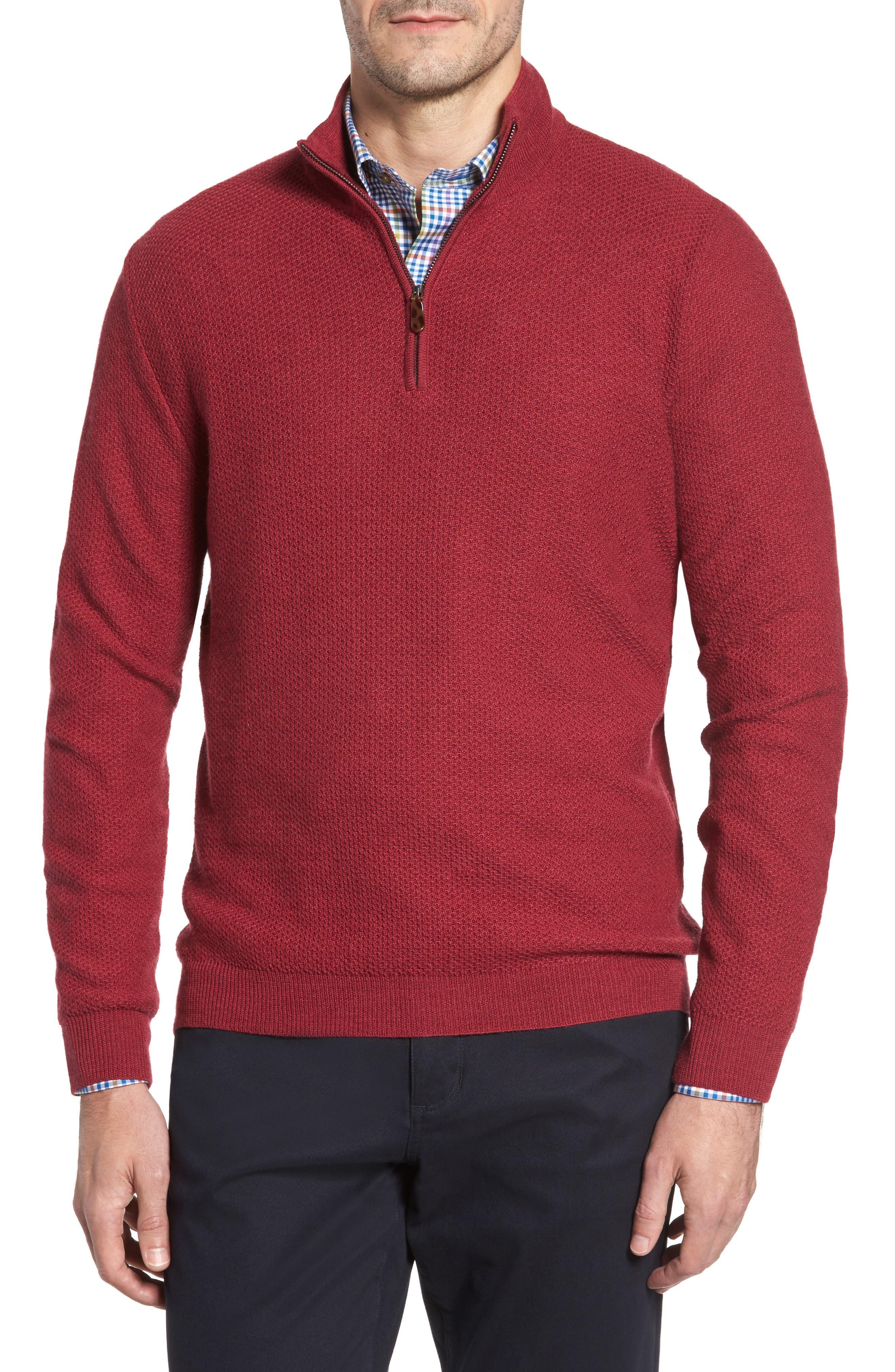 David Donahue Honeycomb Merino Wool Quarter Zip Pullover