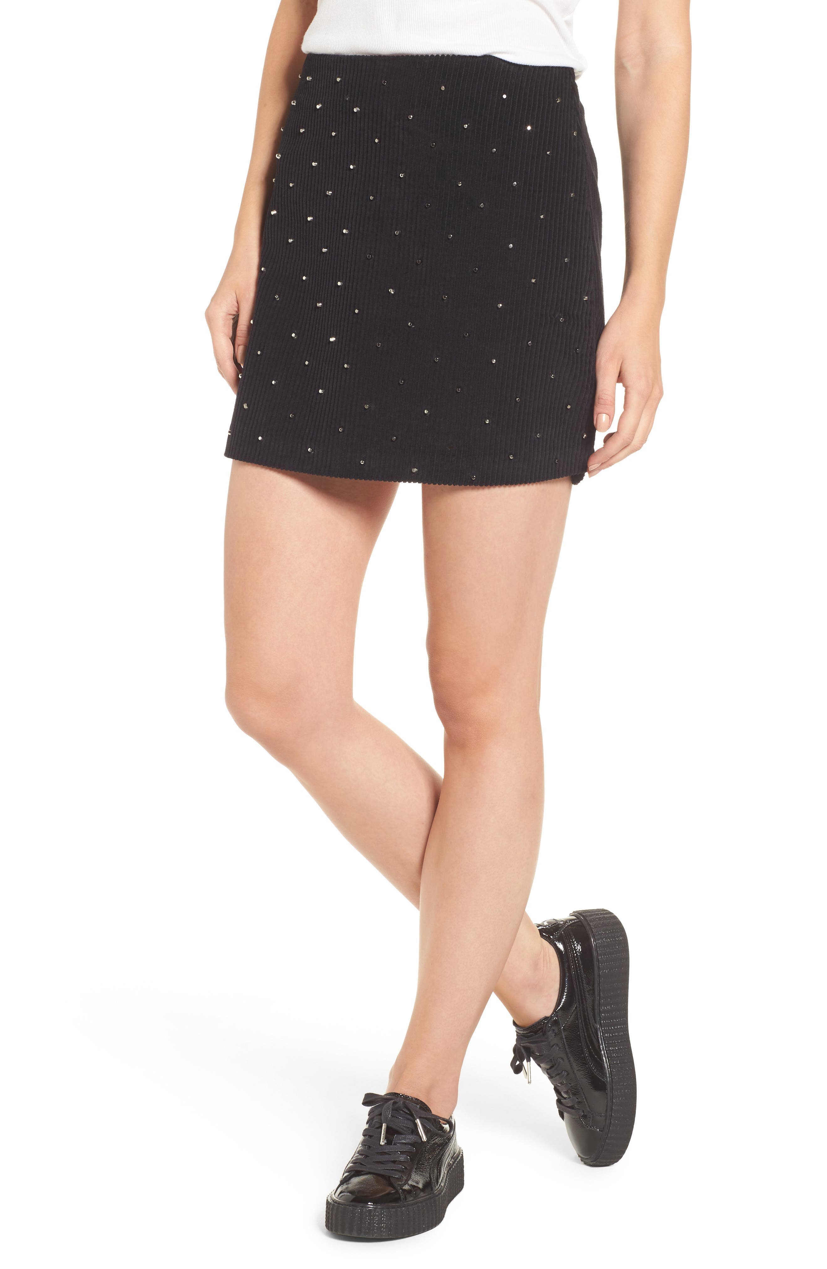 BLANKNYC Studded Corduroy Skirt