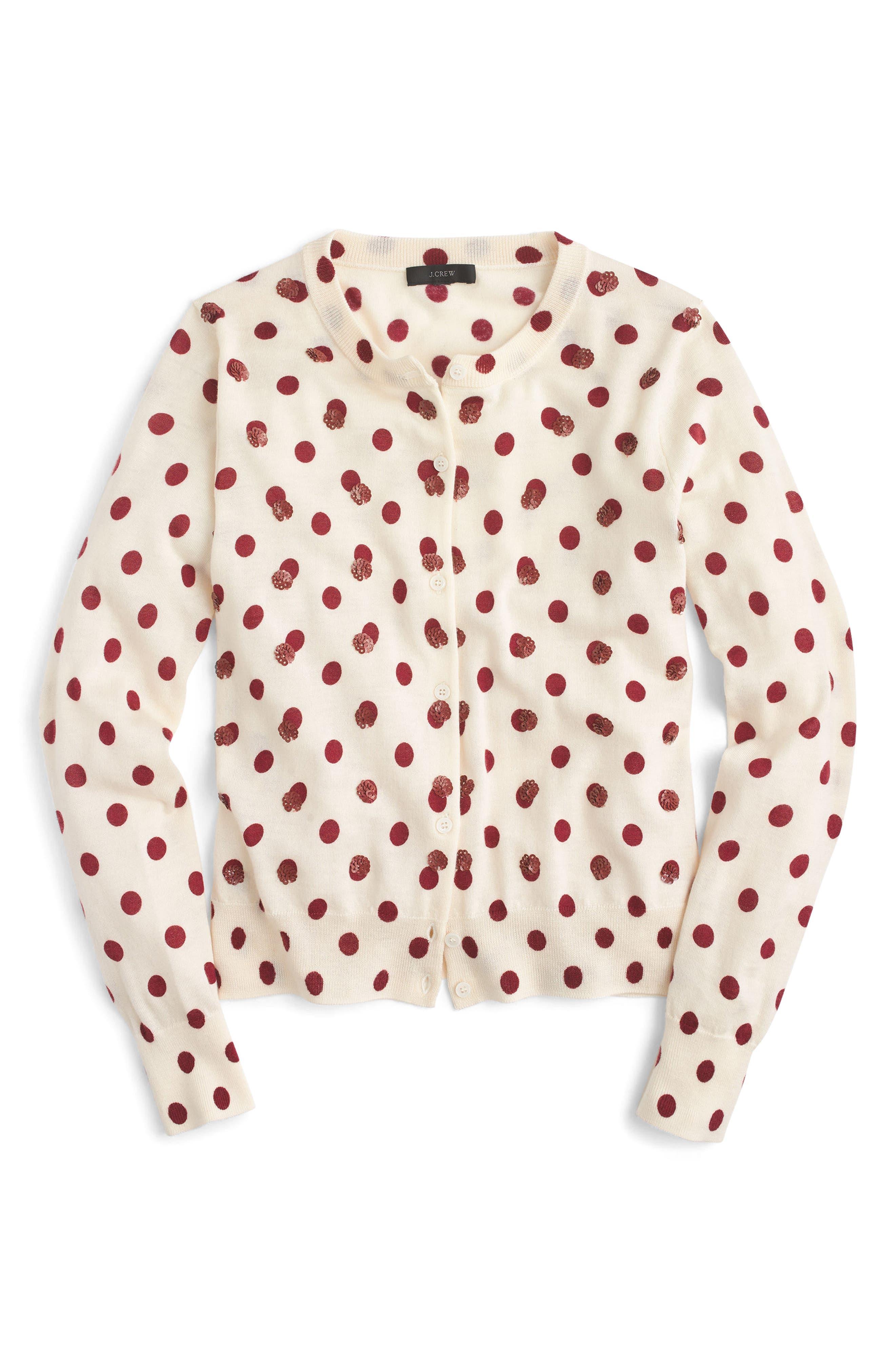 Sequin Polka Dot Cardigan,                             Alternate thumbnail 4, color,                             Dusty Ruby