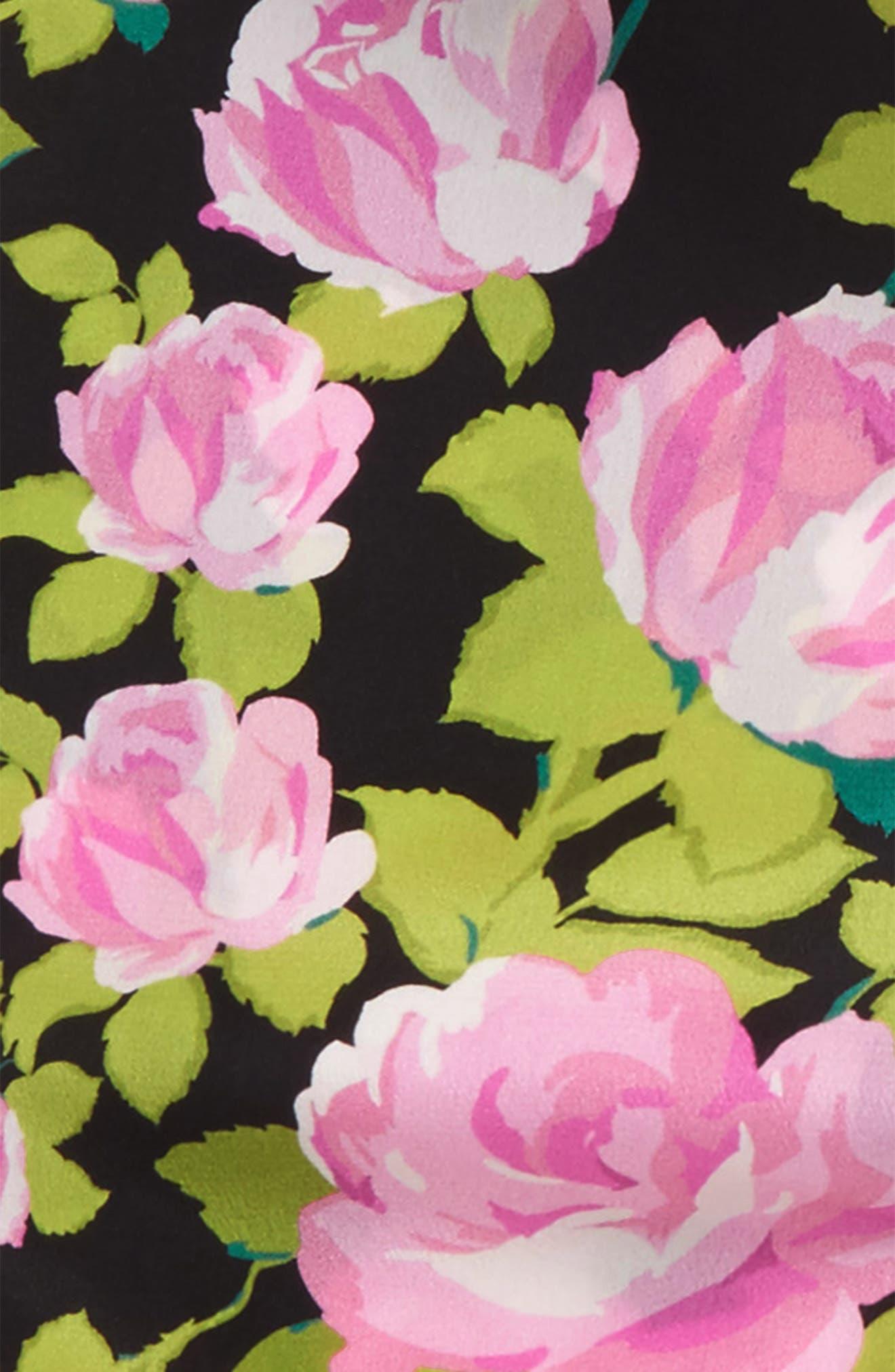 Climbing Roses Skinny Silk Scarf,                             Alternate thumbnail 4, color,                             Black