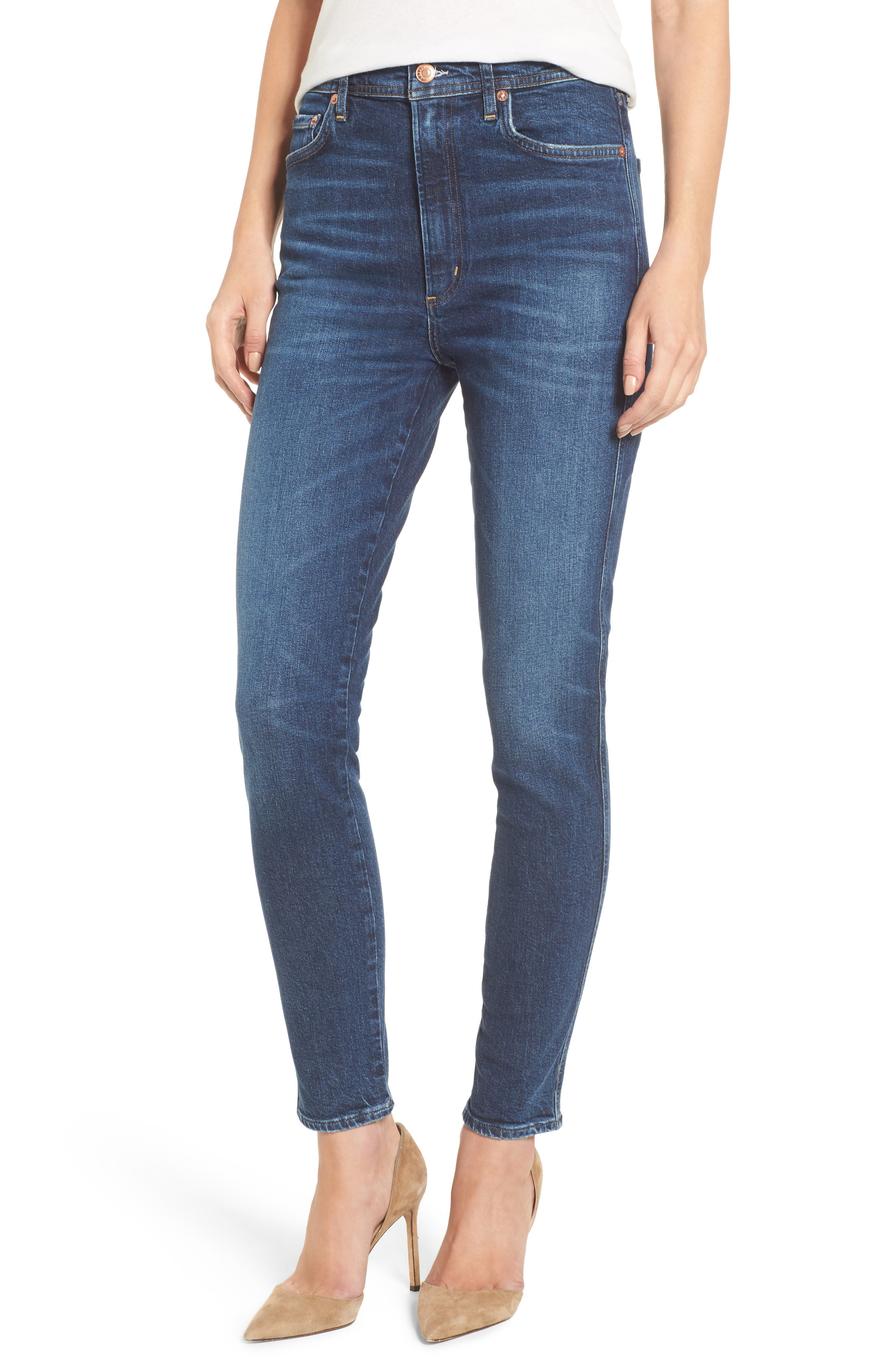 Alternate Image 1 Selected - AGOLDE Roxanne Super High Rise Skinny Jeans (Freeway)