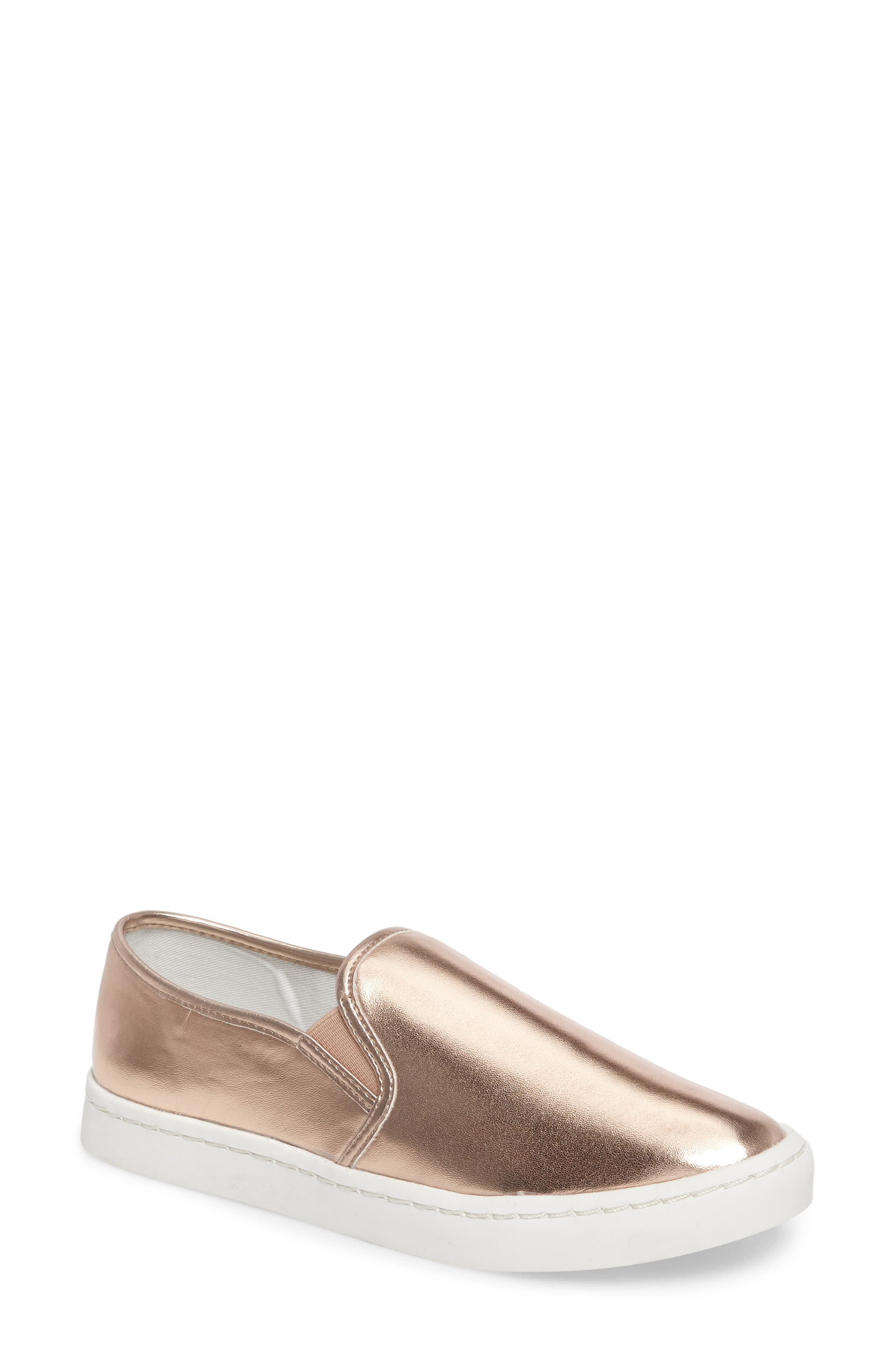 'Twiny' Slip-On Sneaker,                             Main thumbnail 1, color,                             Rose Gold Faux Leather