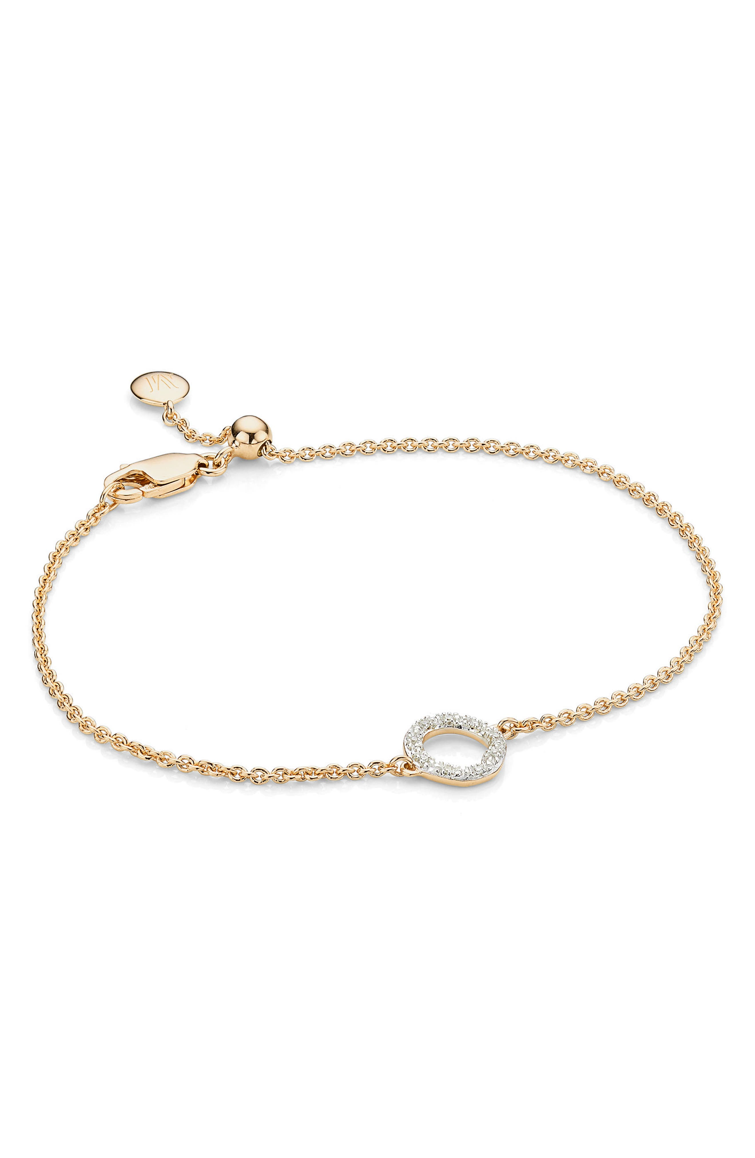 Alternate Image 1 Selected - Monica Vinader Riva Mini Circle Diamond Bracelet