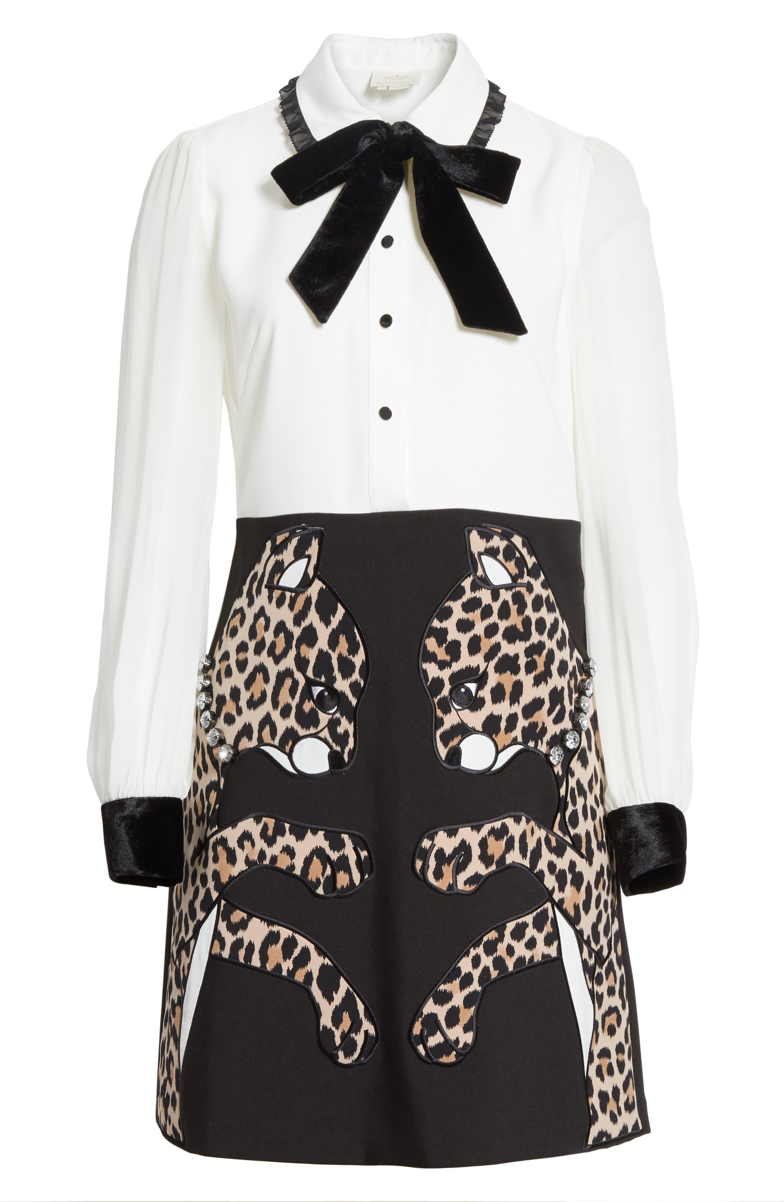 Alternate Image 6  - kate spade new york leopard appliqué shirtdress