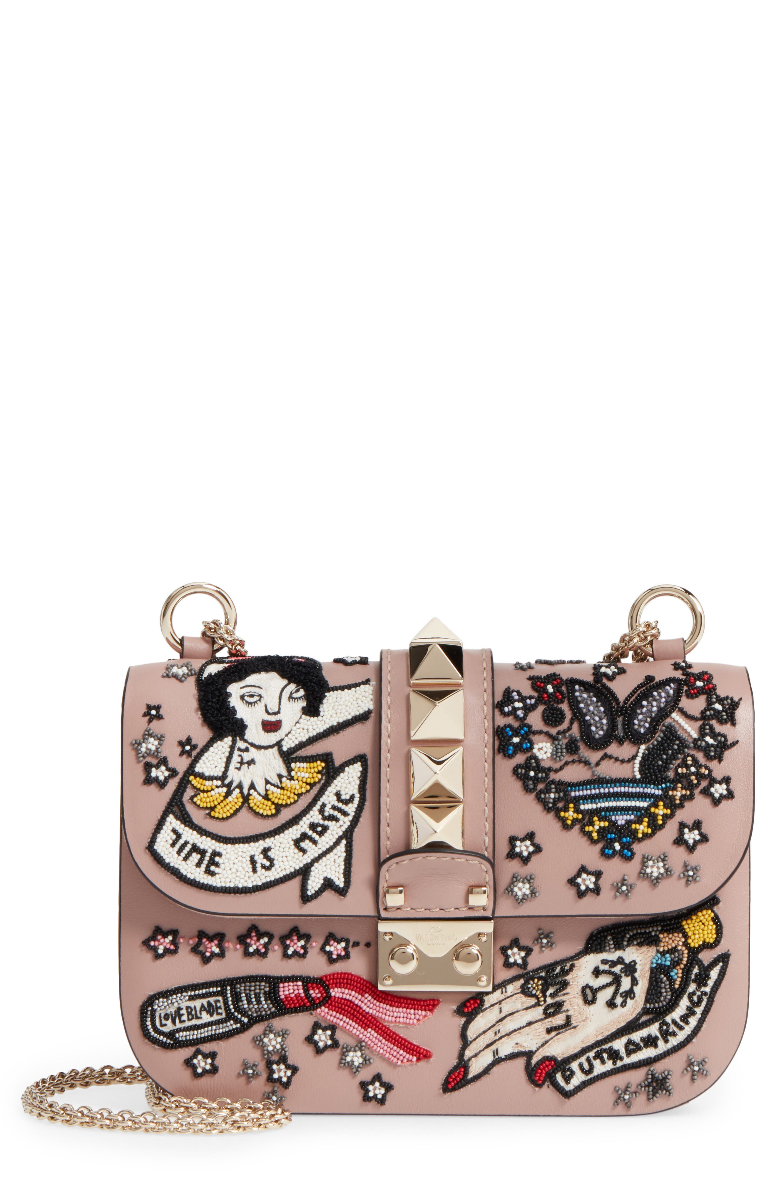VALENTINO GARAVANI Small Time is Magic Embroidered Calfskin Leather Shoulder Bag