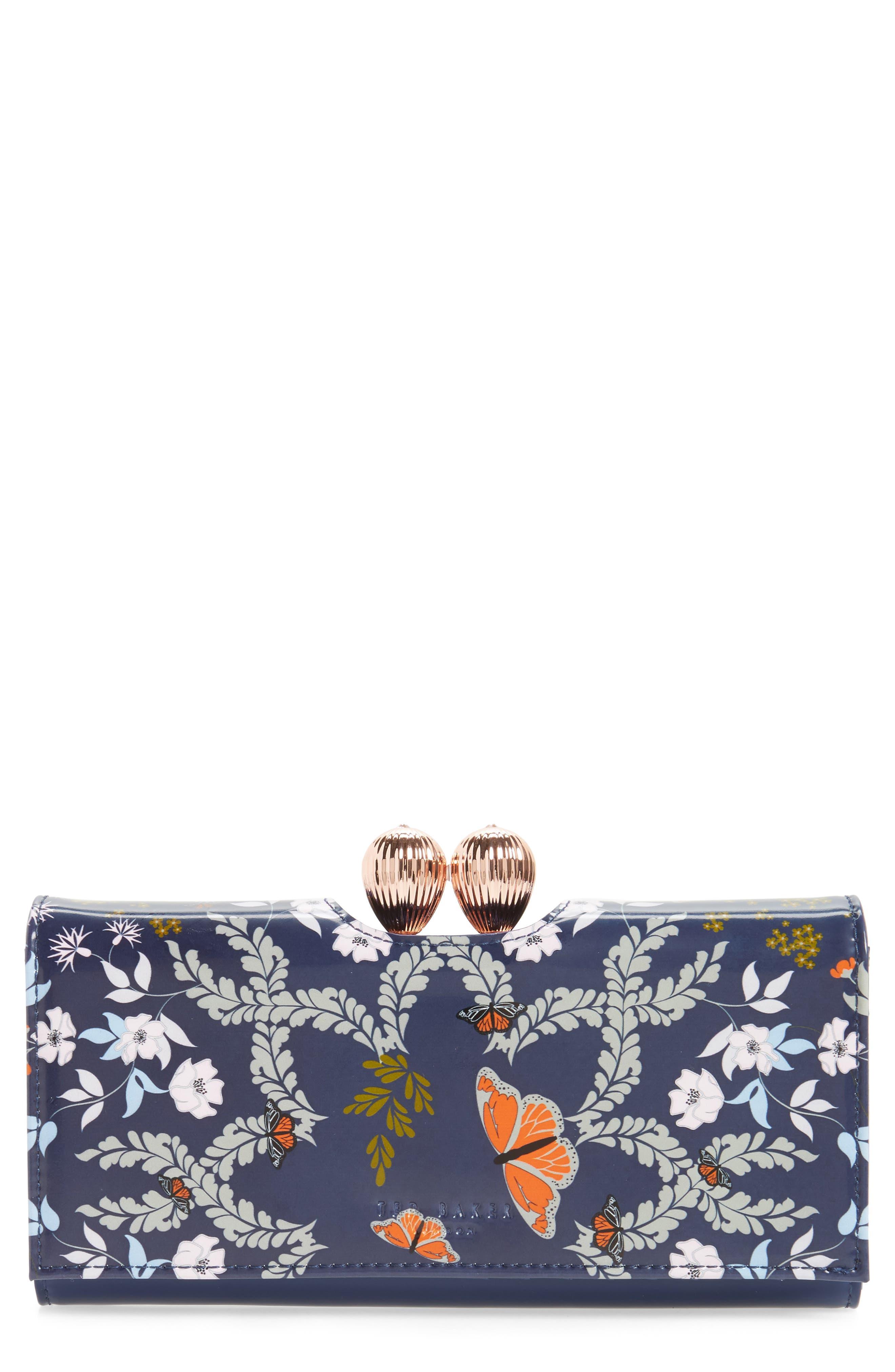Milissa - Kyoto Gardens Print Matinée Wallet,                         Main,                         color, Mid Blue