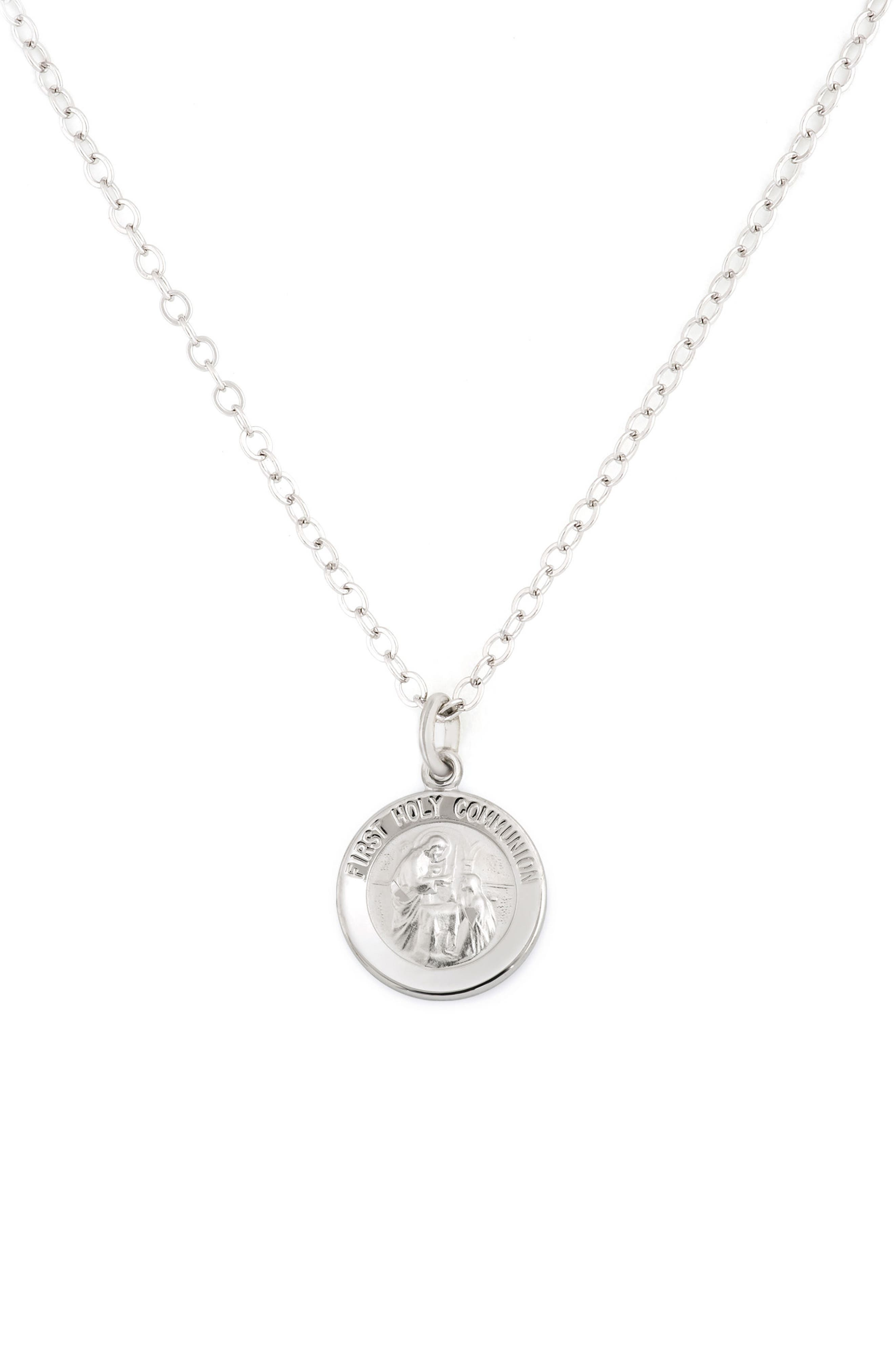 First Communion Pendant Necklace,                         Main,                         color, Silver